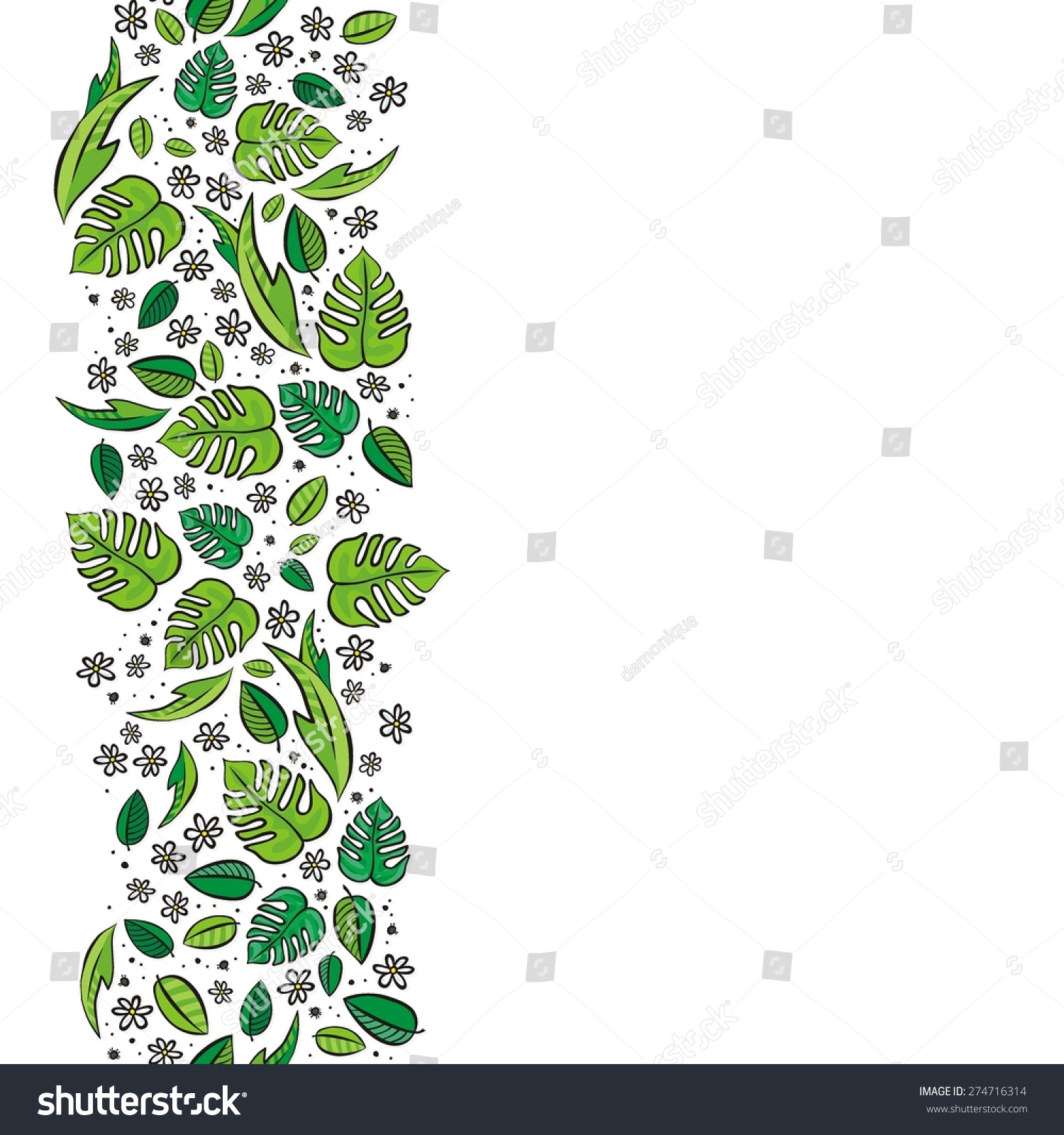 Secret Garden Colorful Spring Summer Floral Seasonal Messy Seamless Vertical Border On White Background