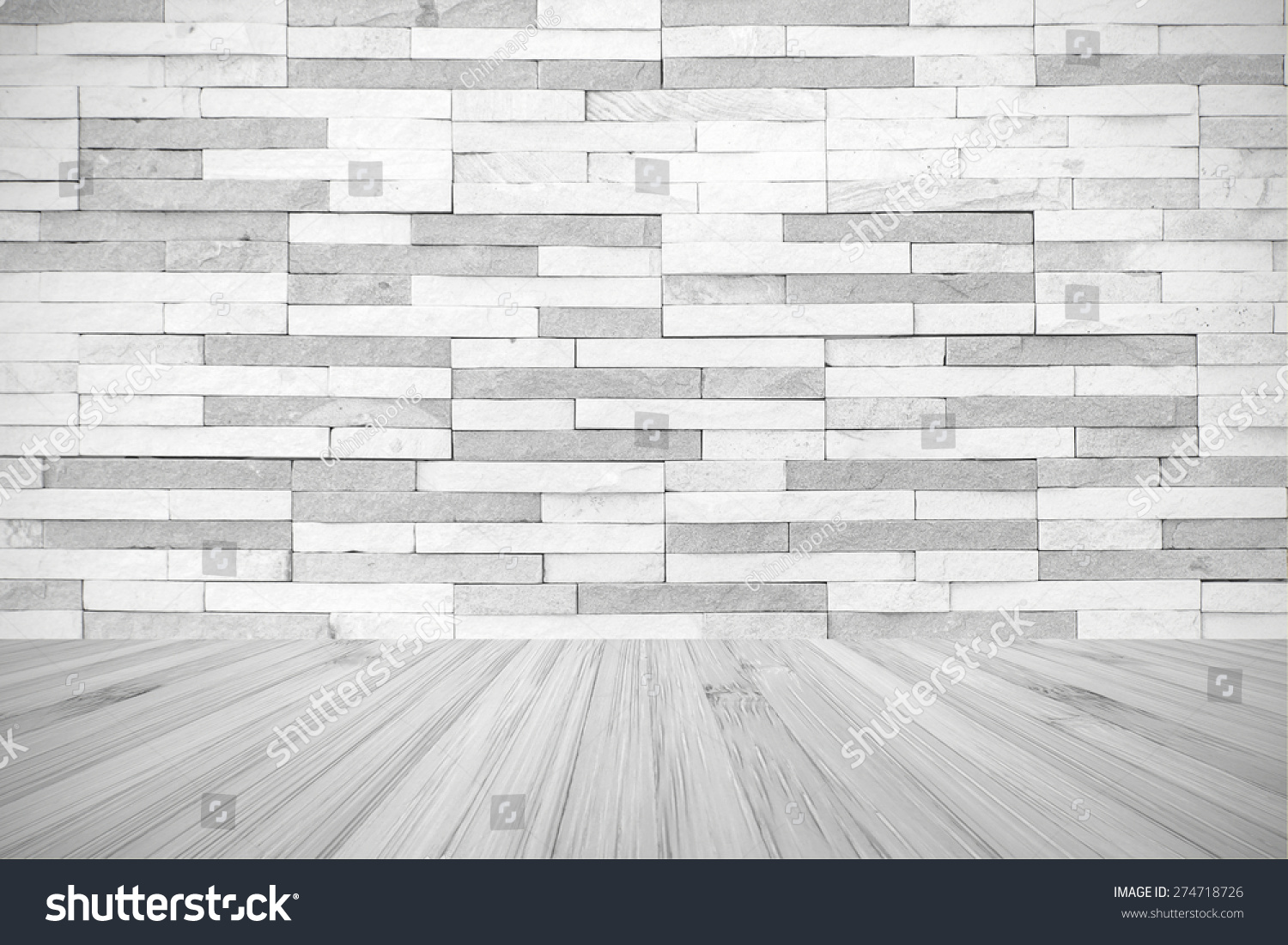 White Grey Colour Brick Tile Textured Wall With Wood Floor