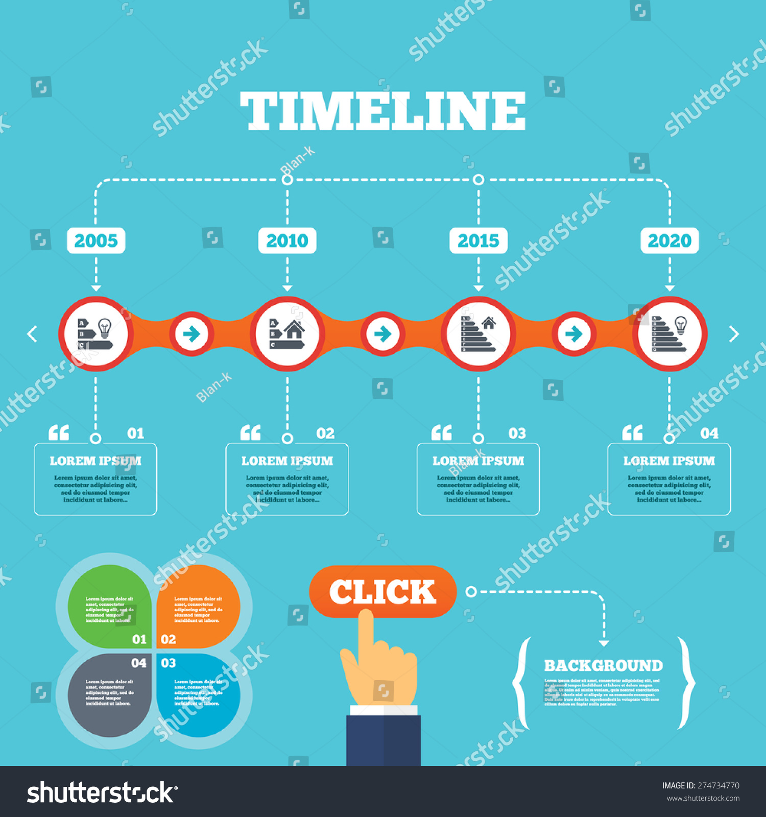 Timeline arrows quotes energy efficiency icons stock for New home build timeline