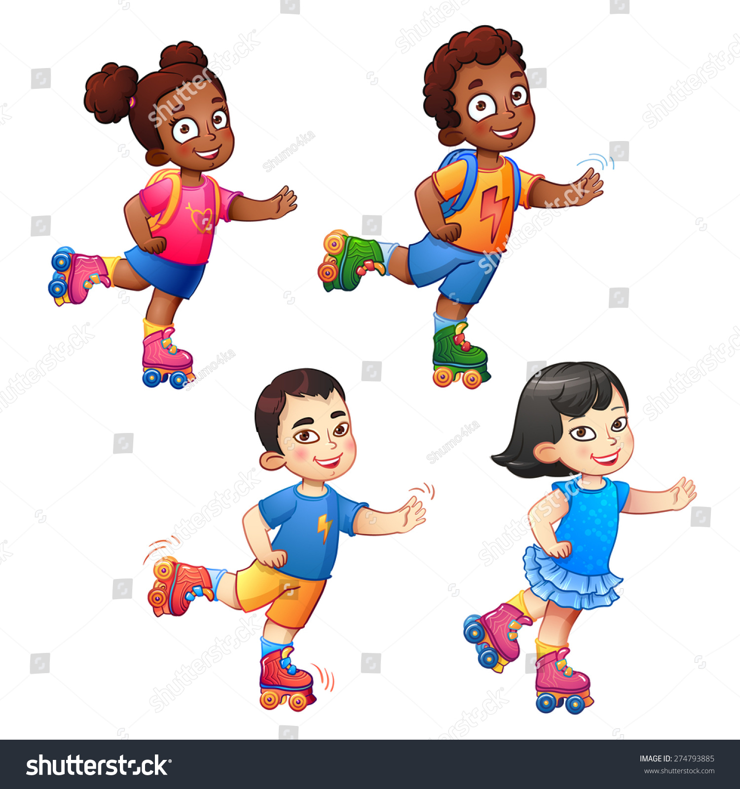 rollerblading children boys girls african american stock