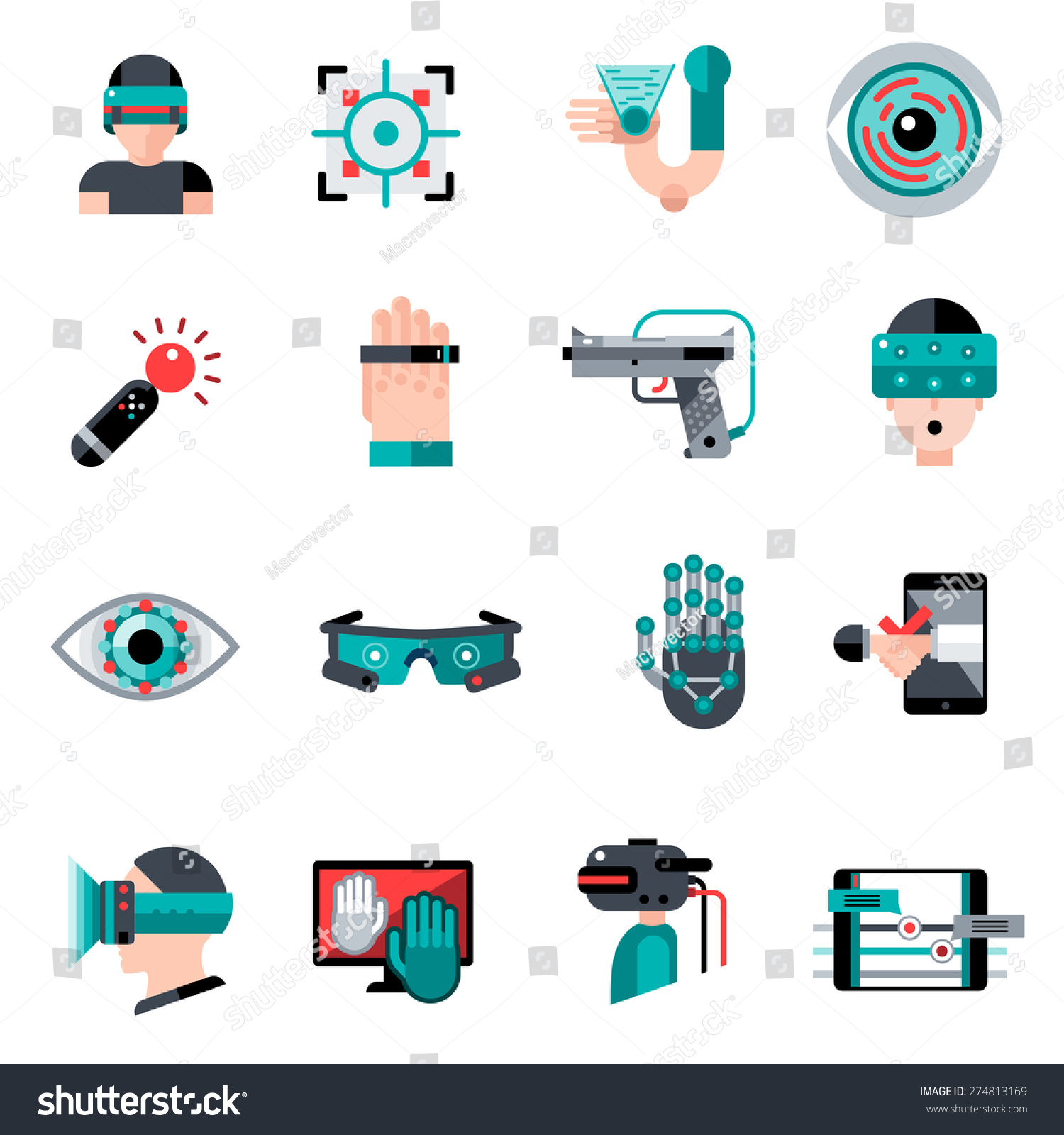 Virtual augmented reality devices and software apps icons Vector image software