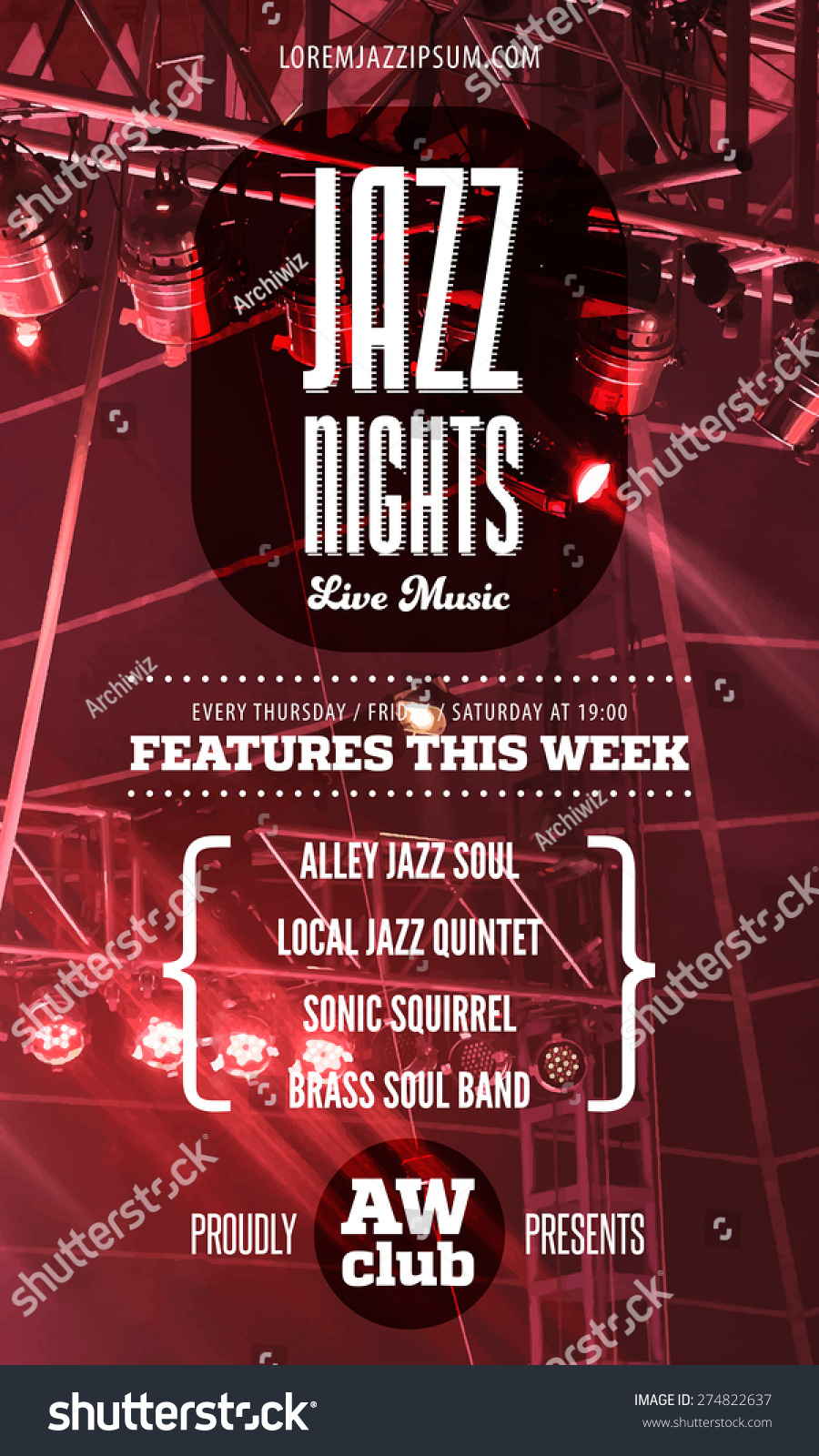 concert press release template - jazz music poster template text instructions stock vector
