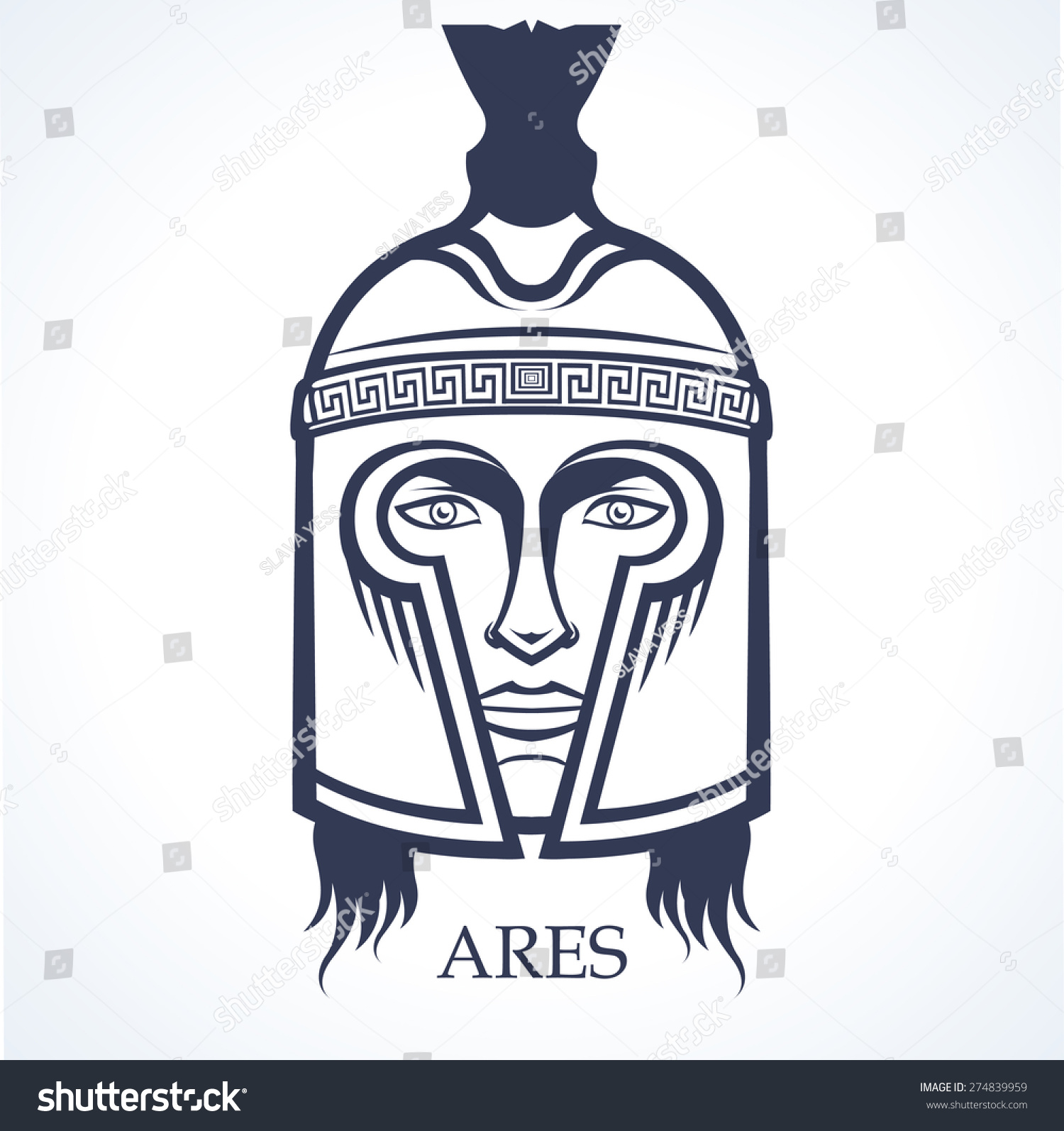Ares Ancient Greek God War Stock Vector Royalty Free 274839959