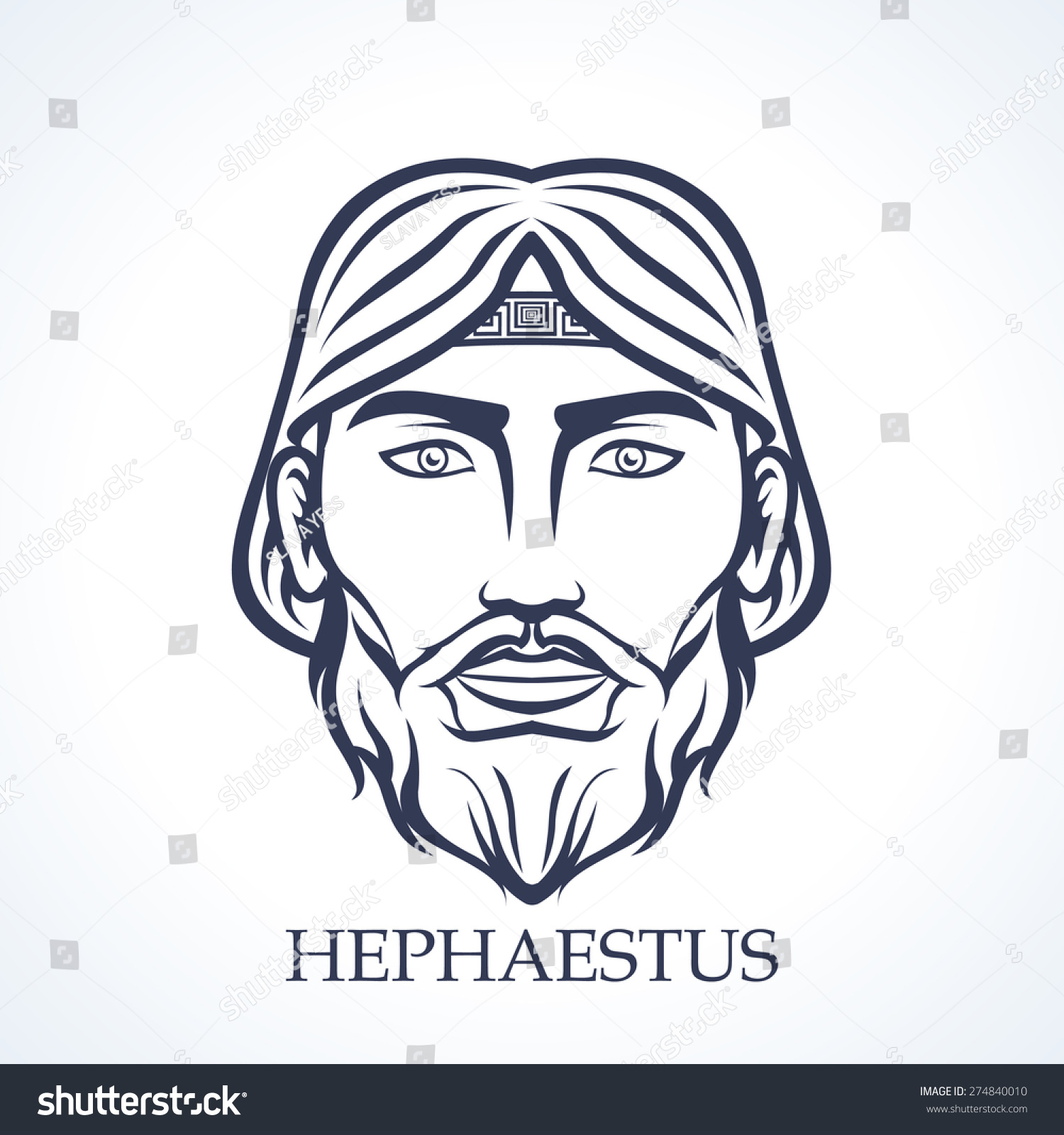 Hephaestus Ancient Greek God Fire Crafts Stock Vector Royalty Free