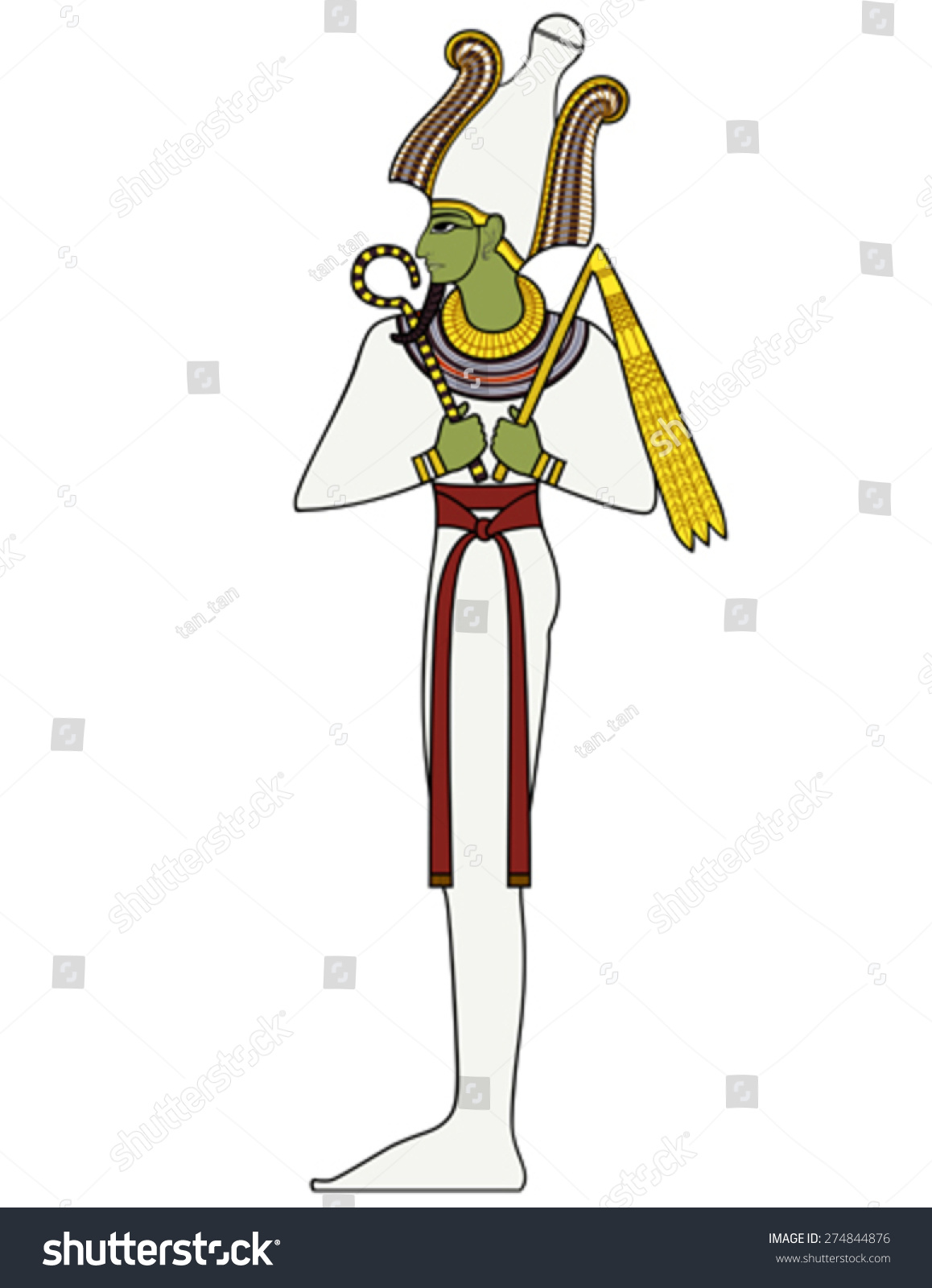 Osiris Egyptian Ancient Symbol Isolated Figure Stock Vector Royalty