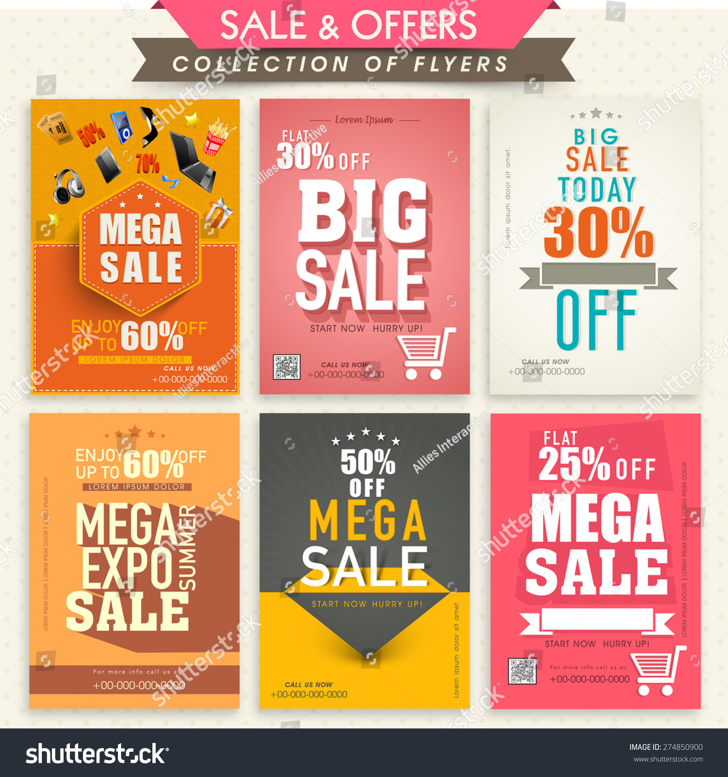 collection stylish mega flyers attractive stock vector collection of stylish mega flyers attractive discount offers