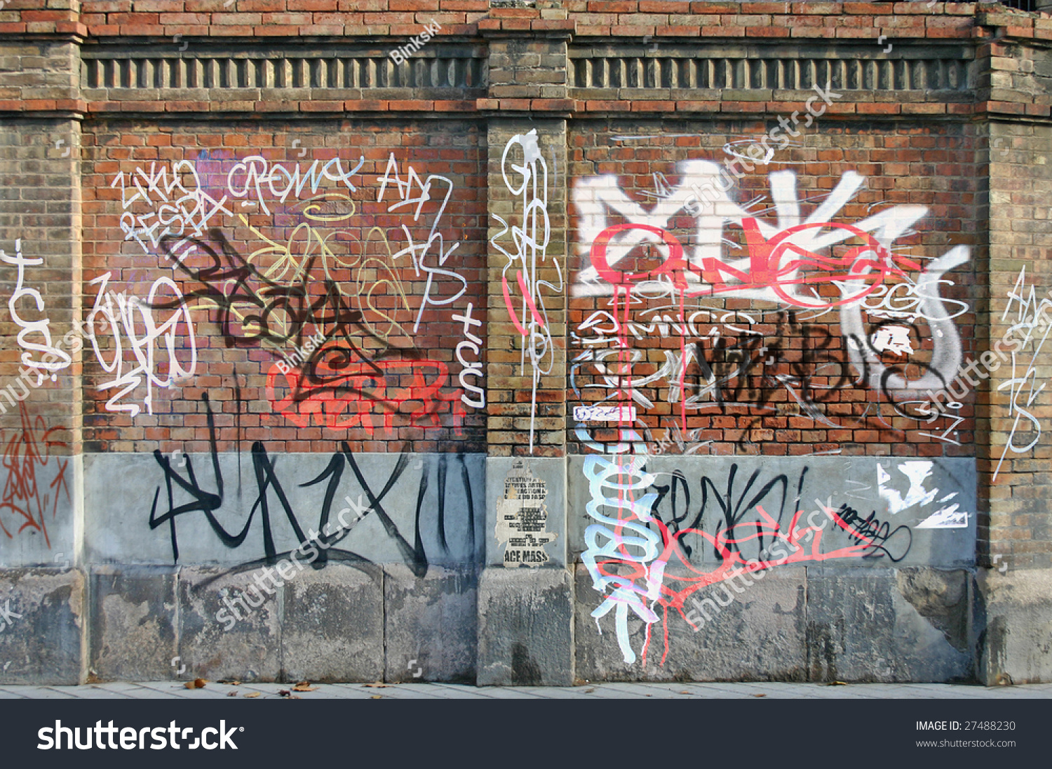 Old brick wall lots graffiti stock photo 27488230 for Lots of pictures on wall