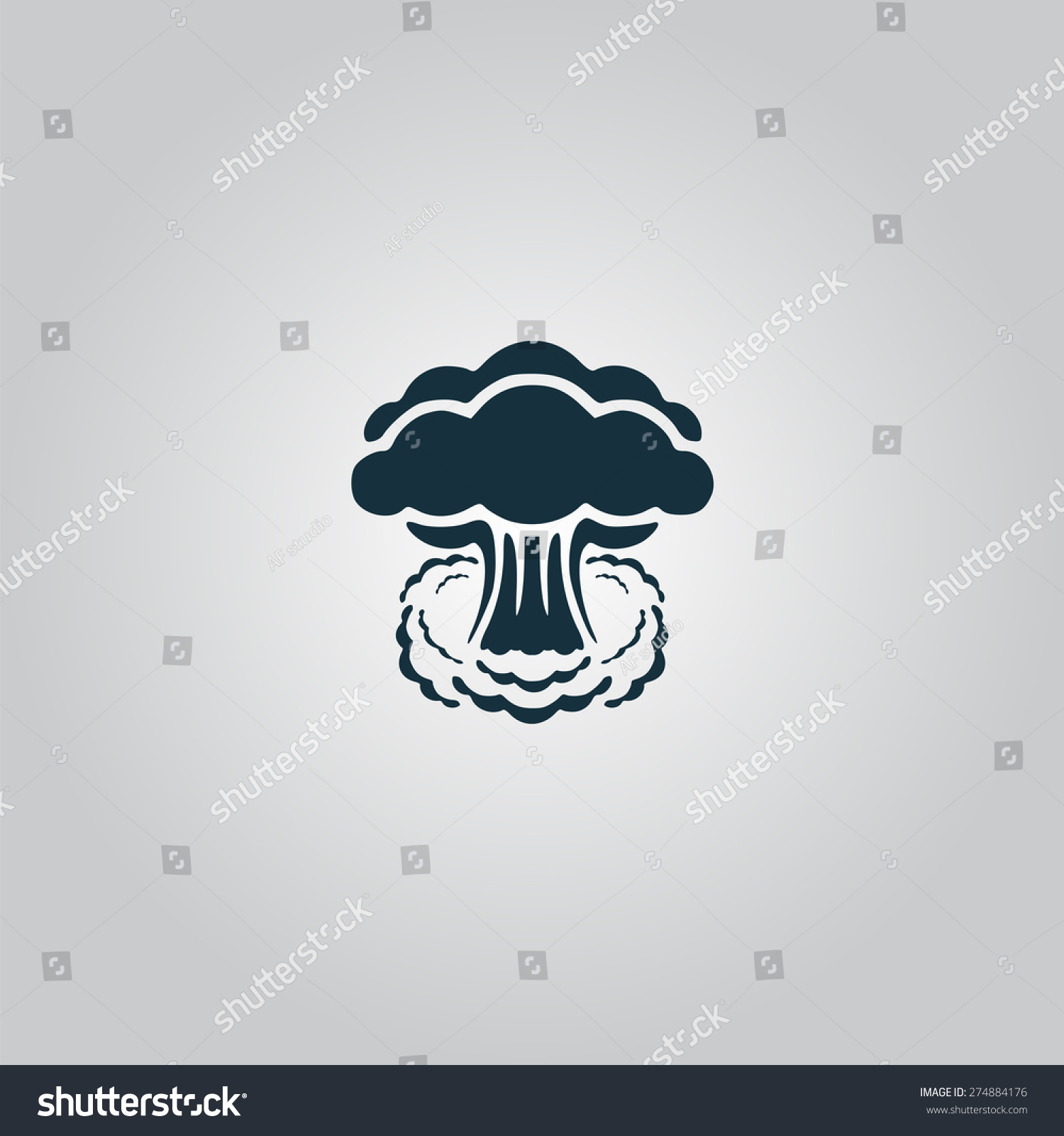 Mushroom Cloud Nuclear Explosion Silhouette Flat Stock Vector 274884176 - Shutterstock