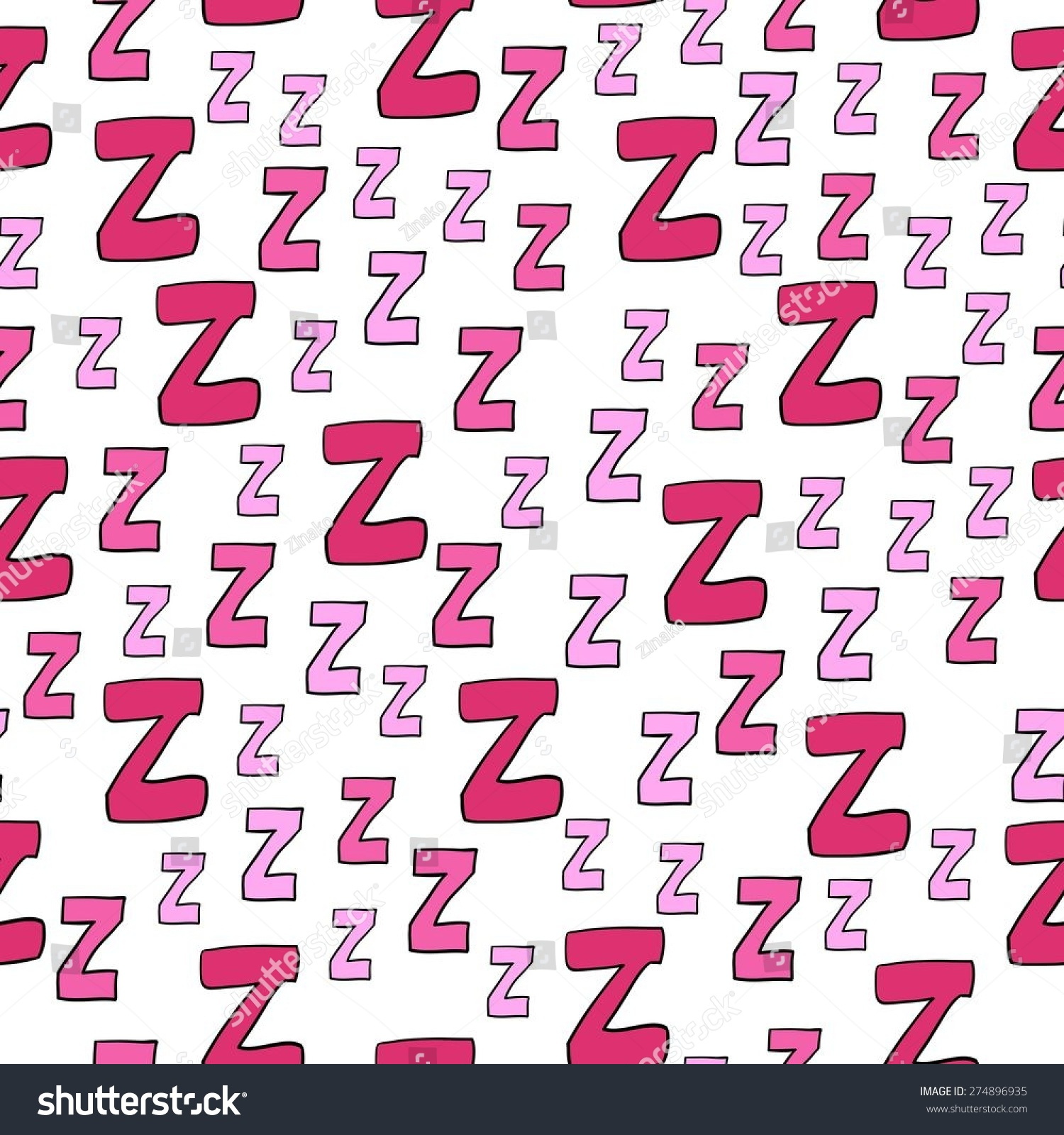 Seamless Pattern Cartoon Letters Z Can Stock Vector (Royalty Free ...
