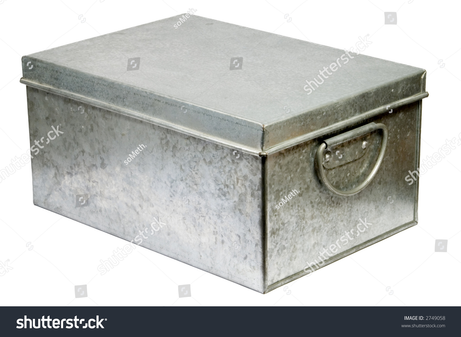 Metal Box Lid Closed Handles Isolated Stock Photo 2749058