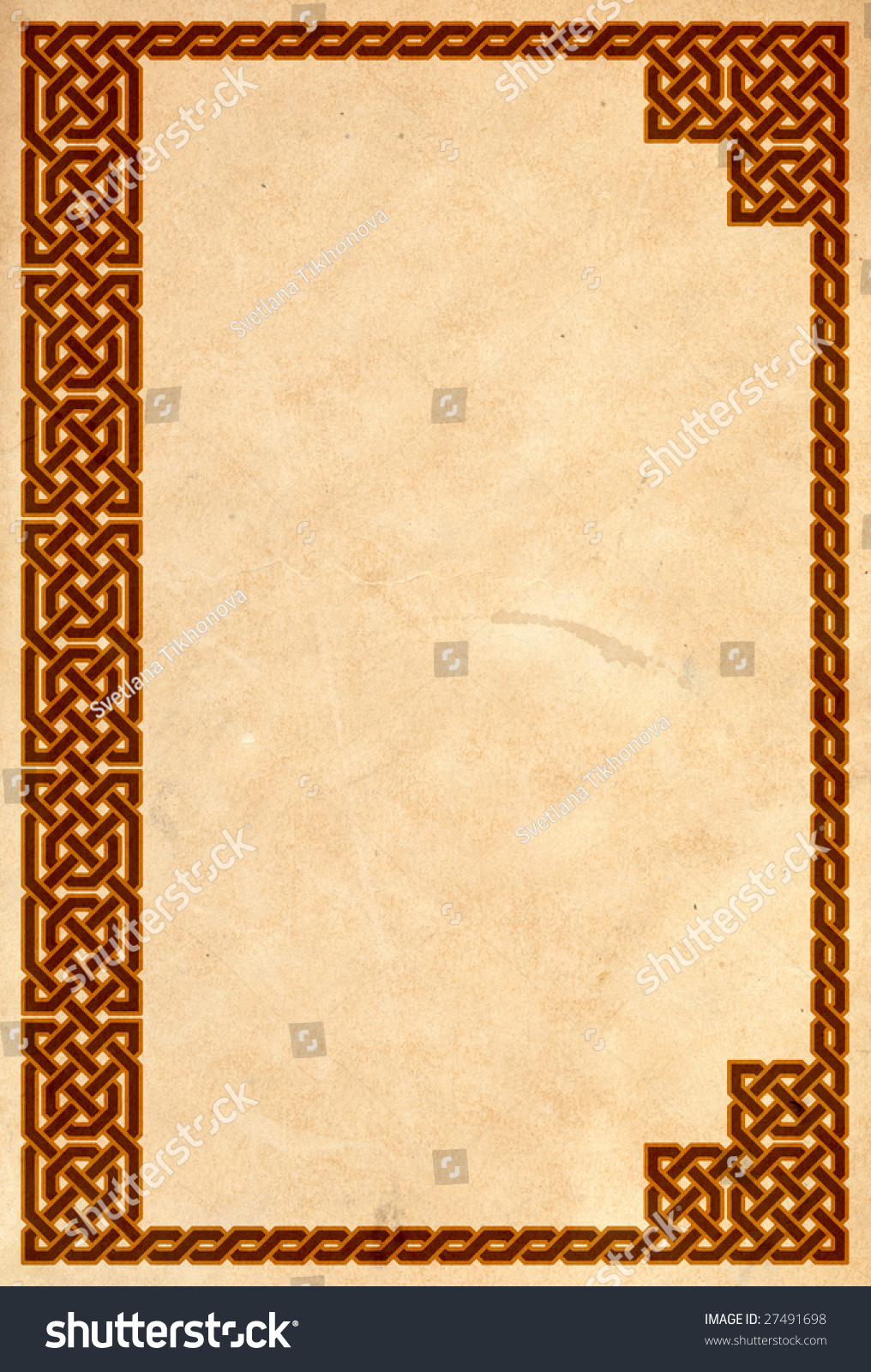 Vintage Book Cover Border : Old book cover traditional celtic border stock photo