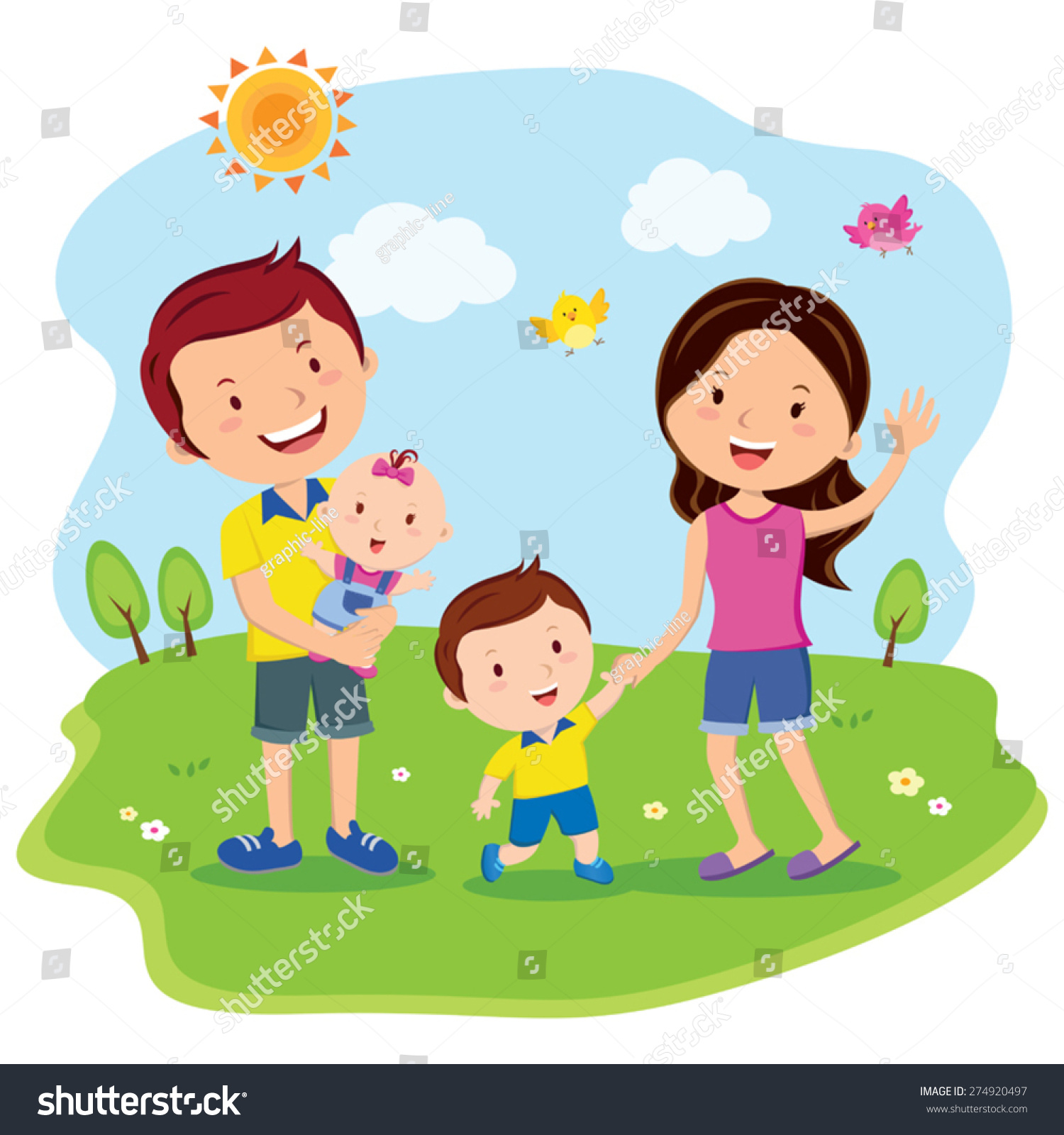Happy Family Day Cheerful Family Outing Stock Vector ...