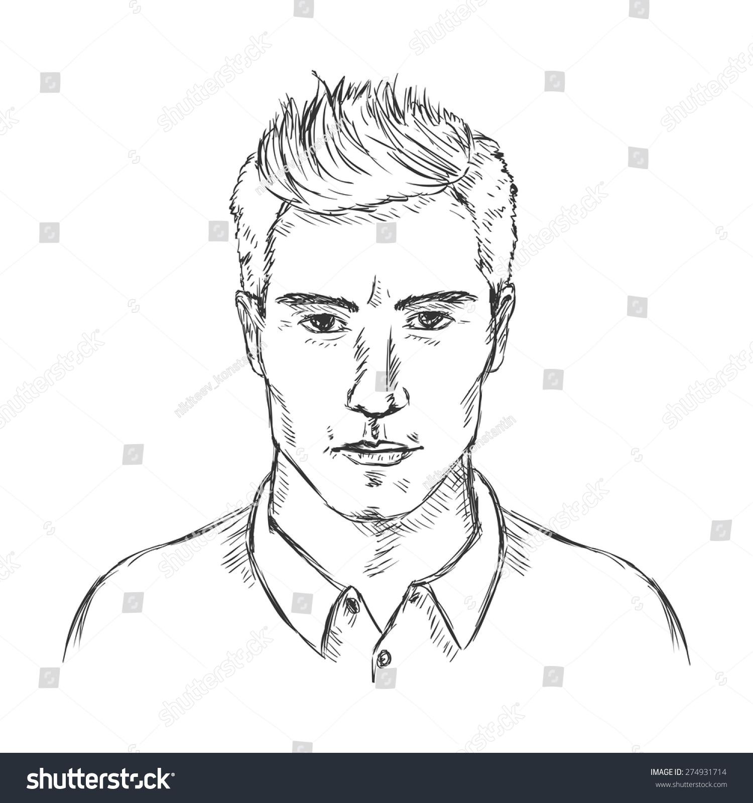 Vector Single Sketch Male Face Men Hairstyle Ez Canvas