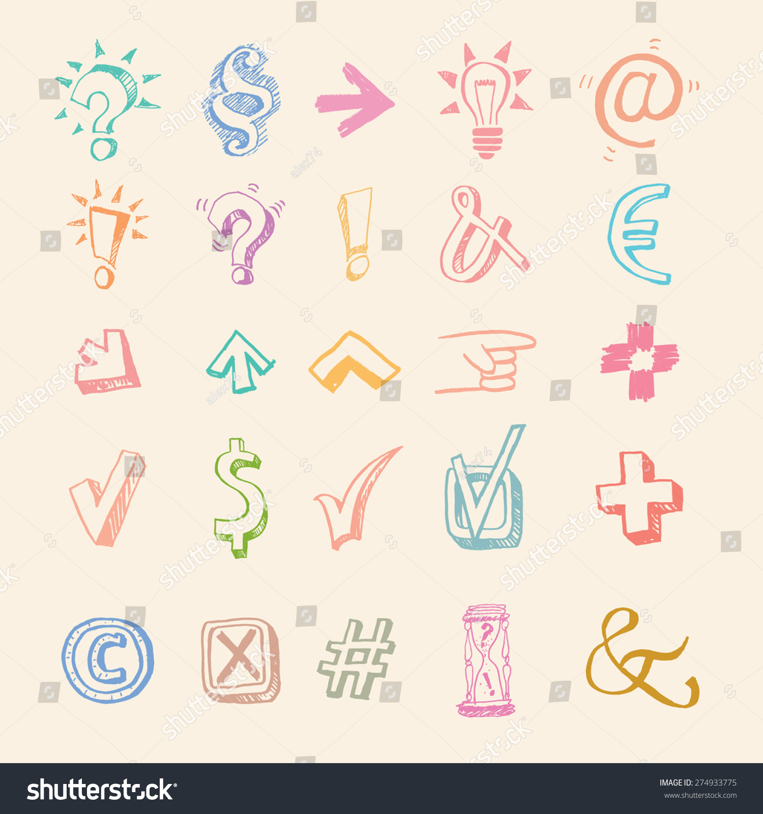 Royalty Free Symbols Collection Big Vector Set 274933775 Stock