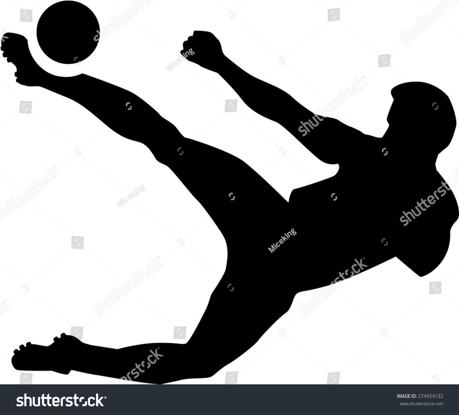Soccer player silhouette bicycle kick