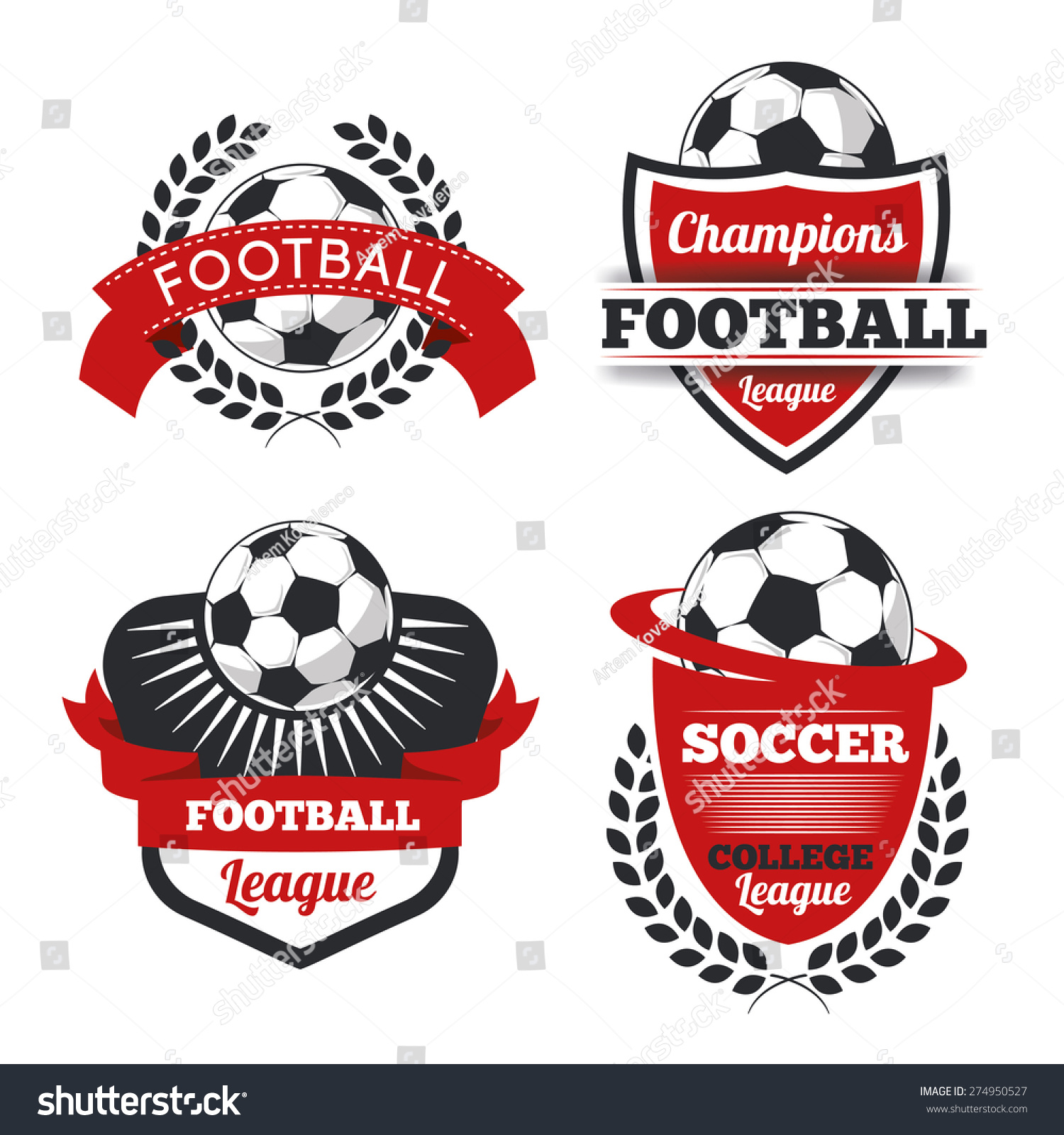 vector set badges logos red football stock vector