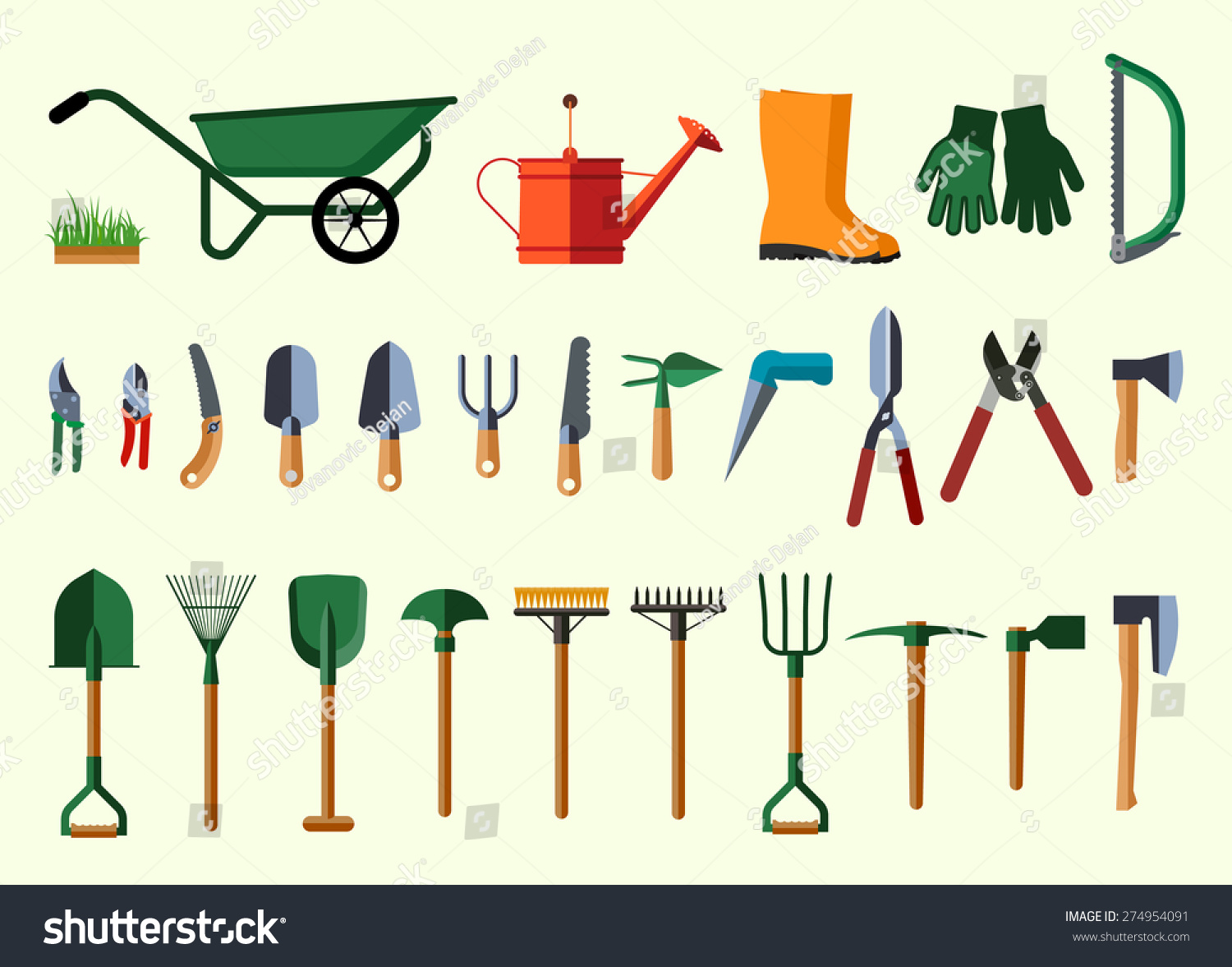 Set Various Gardening Items Garden Tools Stock Vector 274954091