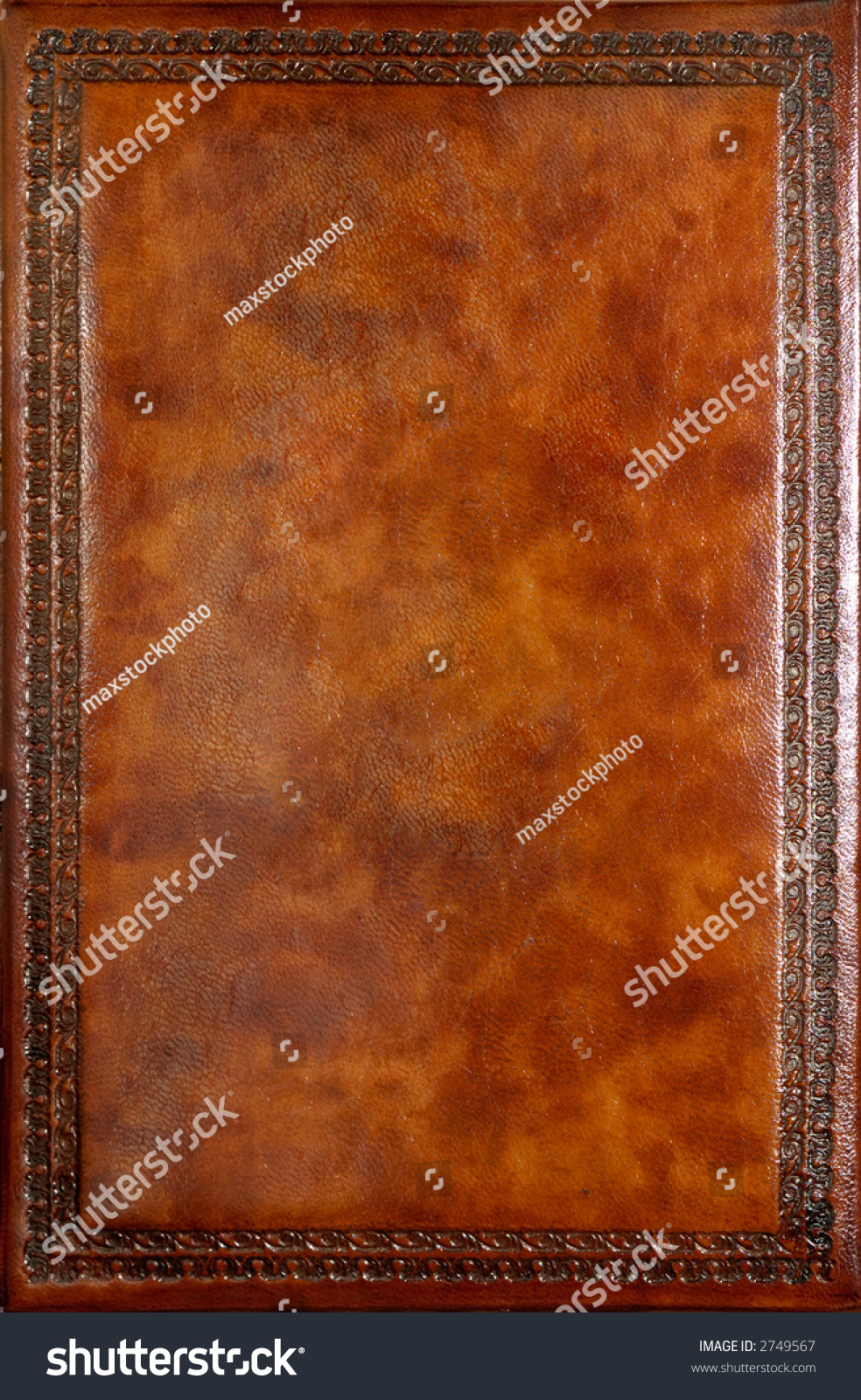 Book Cover Pattern Photo ~ Brown leather book cover with decorative pattern stock