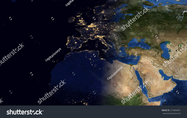 World Map Montage Europe Day Night Stockillustration 274960091