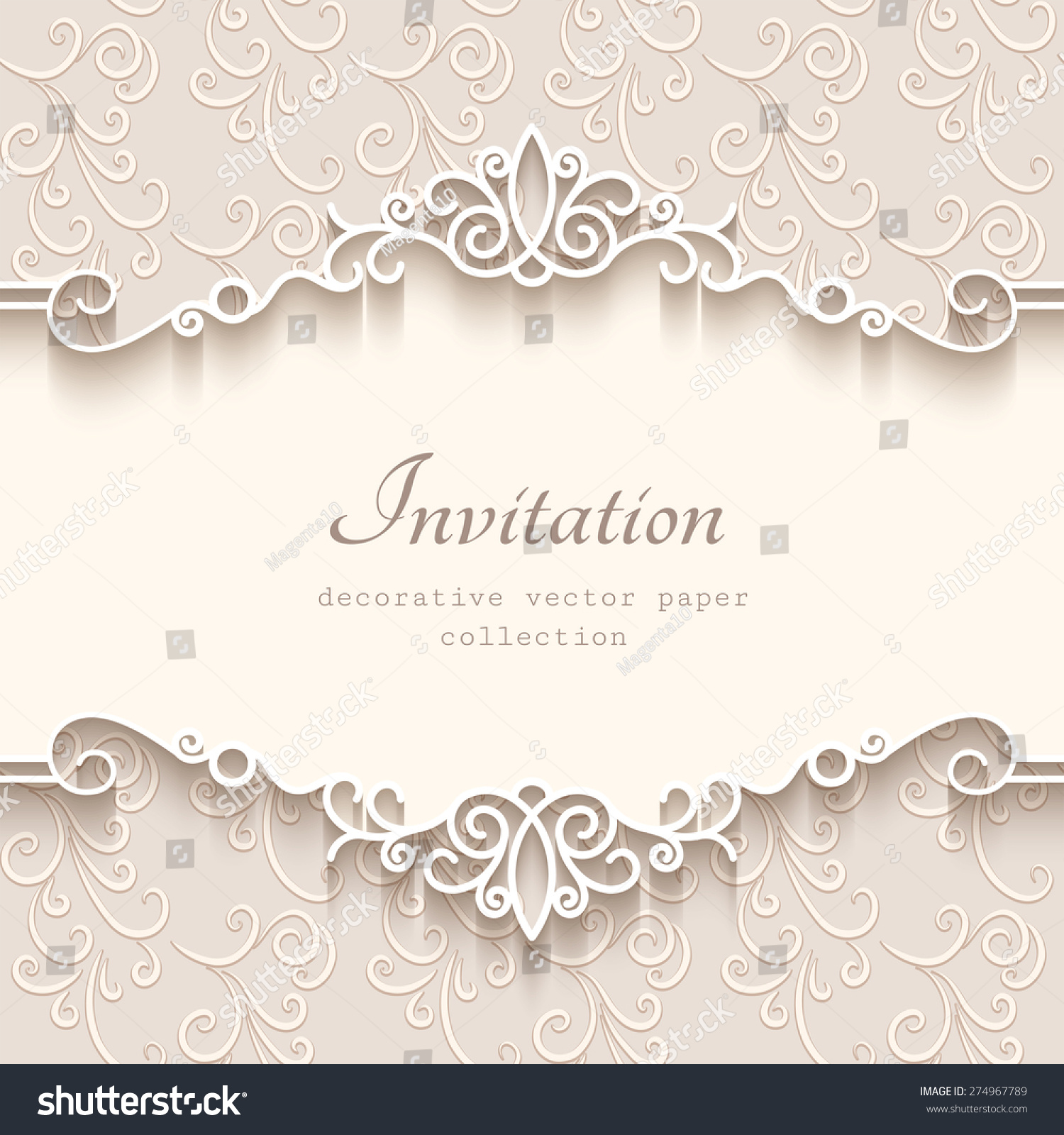 Vintage vector background with paper border decoration, divider, header, ornamental frame template, eps10 #274967789