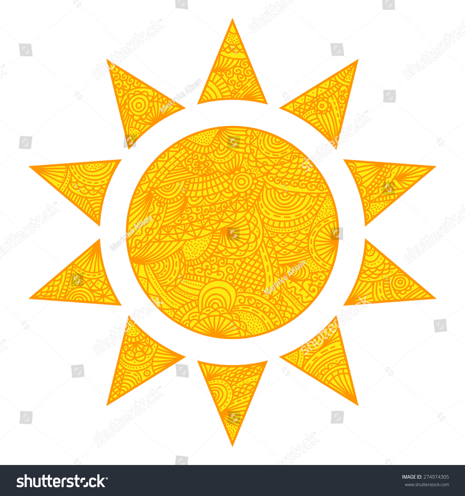 Cartoon Flat Sun Logo Icon Style Stock Vector 274974305