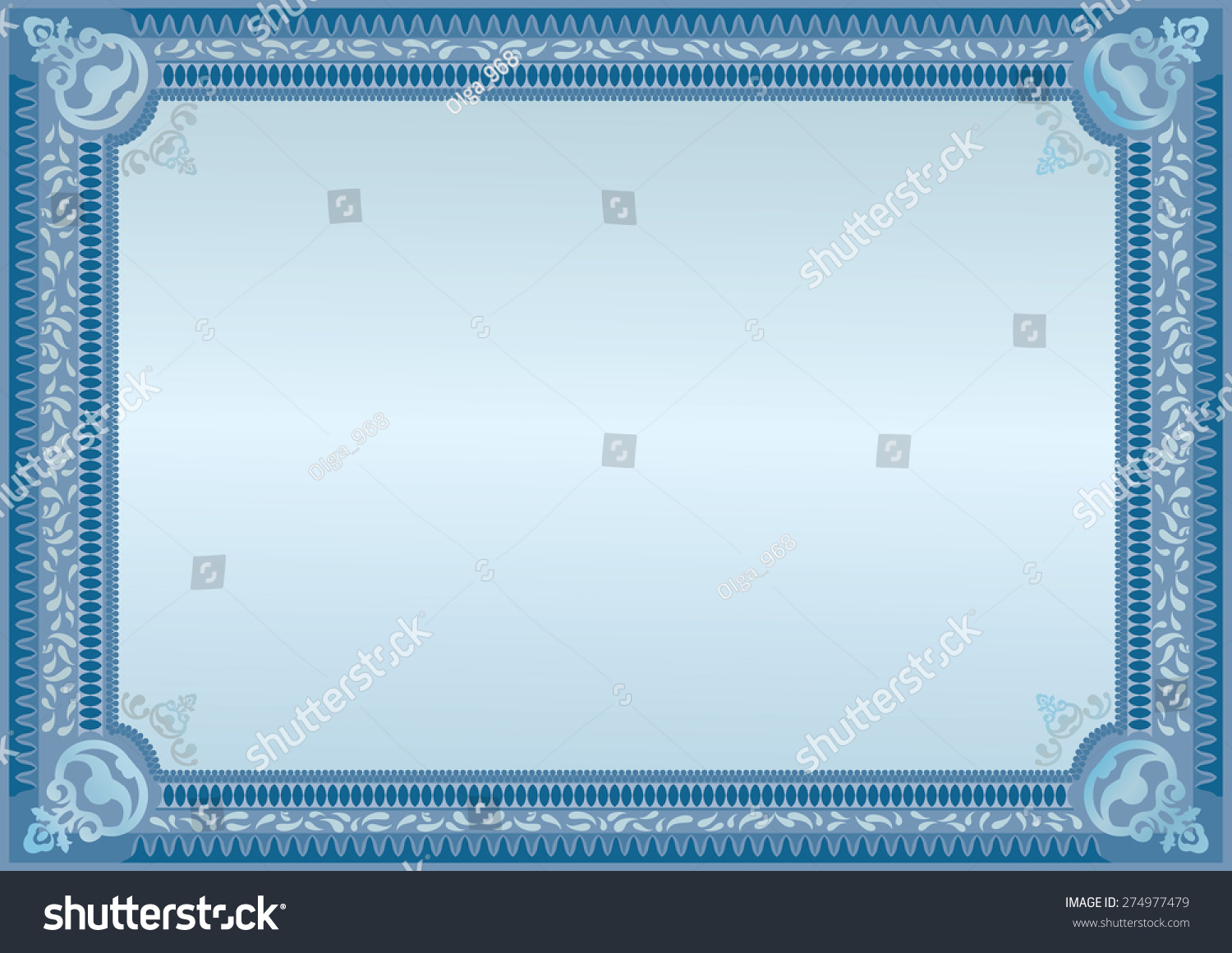 Blue Border Certificate Stock Vector HD (Royalty Free) 274977479 ...