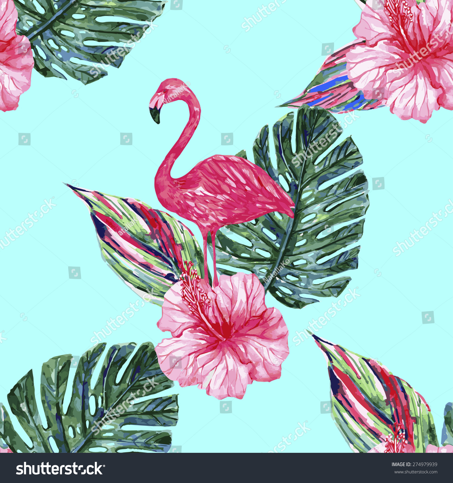 Watercolor Pink Flamingo Tropical Flowers And Jungle Leaves