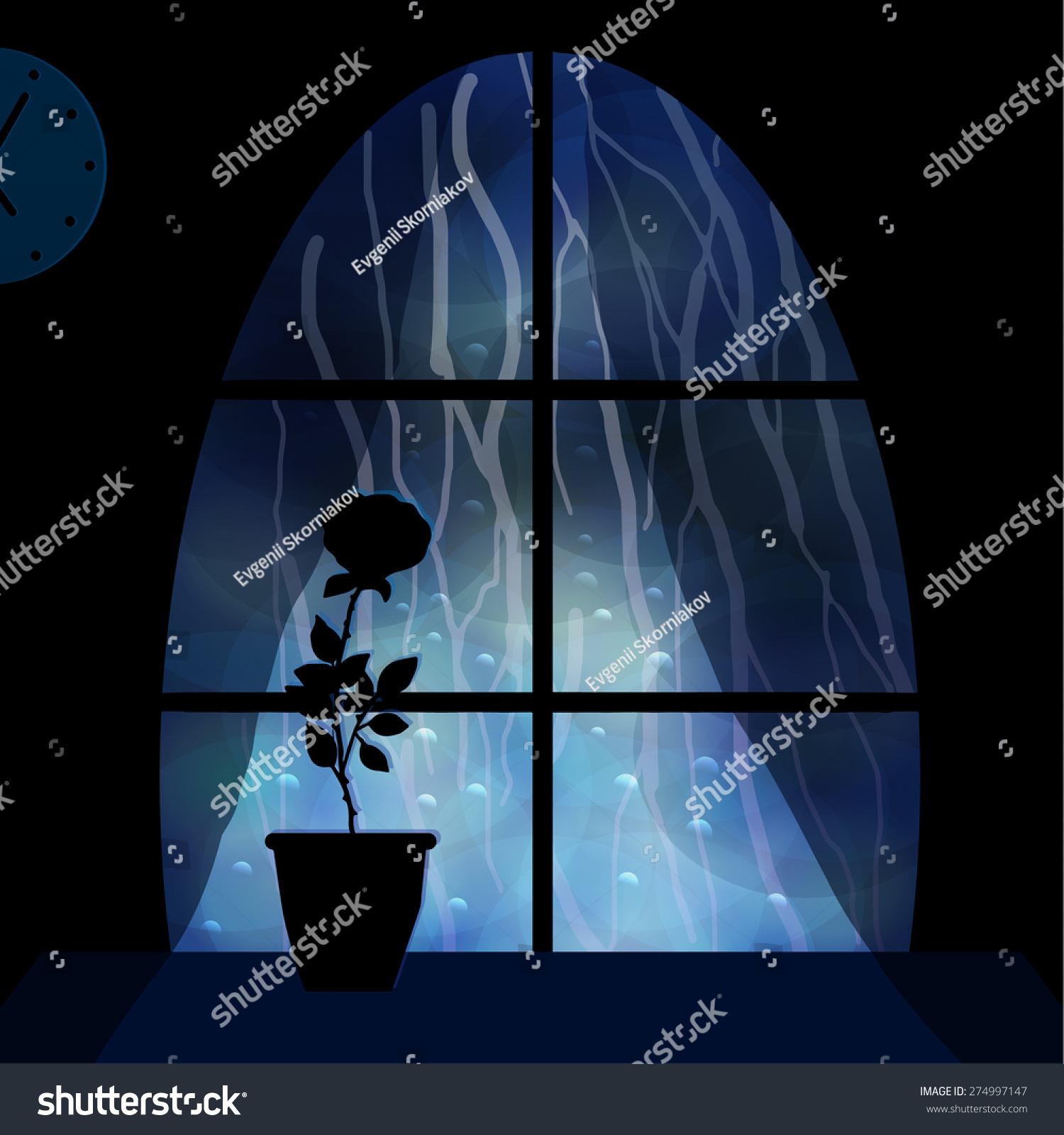 Window at night from outside - Rain Outside The Window Night City A Flower On The Windowsill