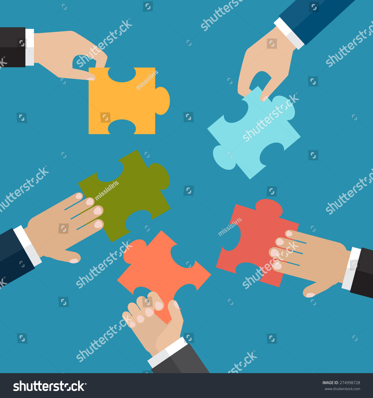 Hands Put Five Jigsaw Puzzle Pieces Stock Vector (Royalty