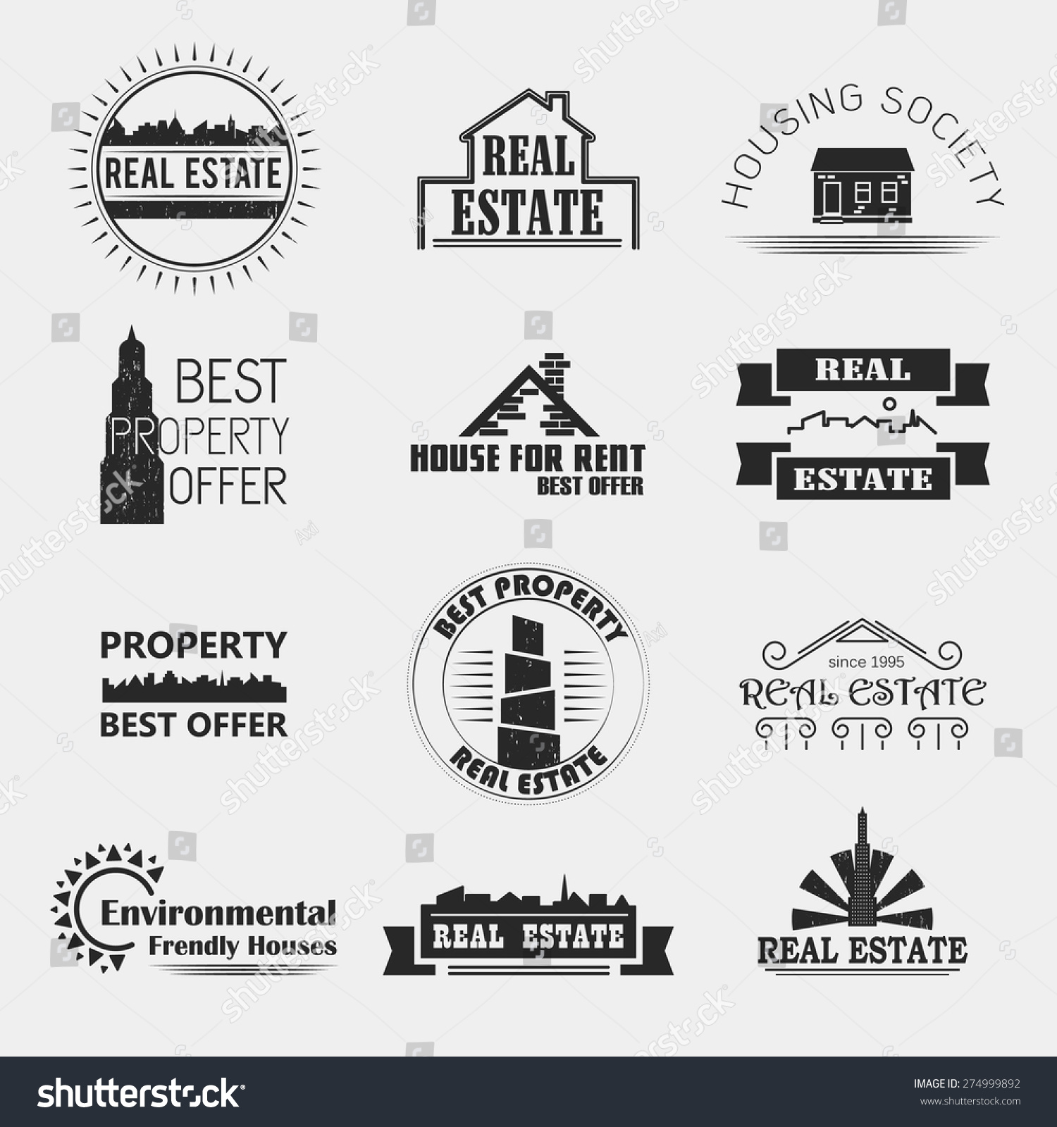 Vector Set Real Estate Style Labels Stock Vector 274999892