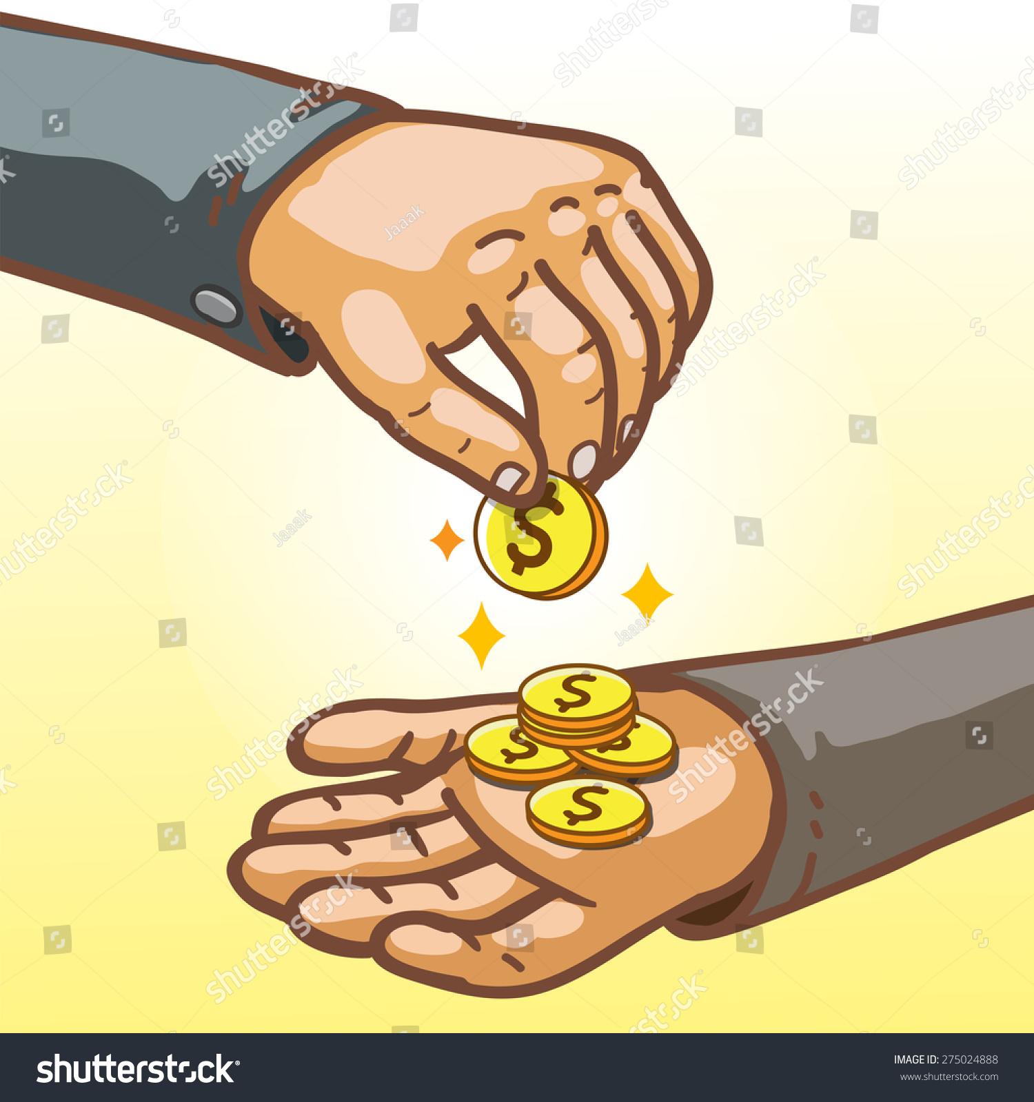 Cartoon Hands Giving Receiving Money Stock Vector (Royalty Free
