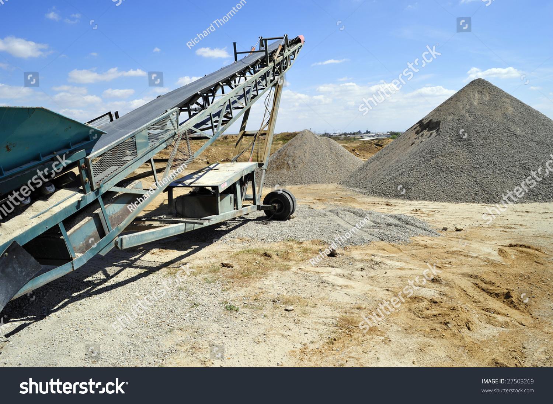 Conveyor Belt Portable Materials Handling Equipment Stock Photo