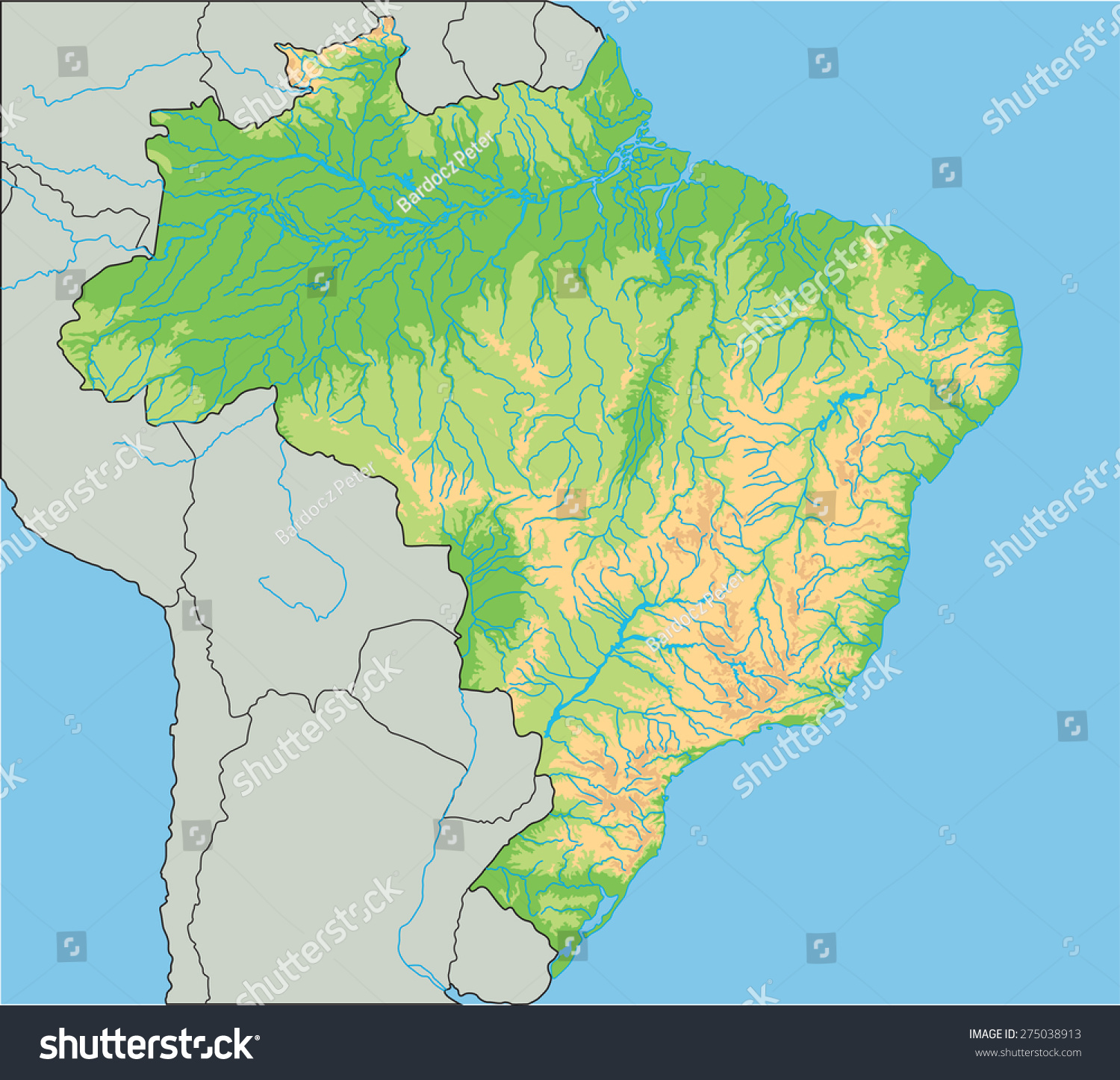 High Detailed Brazil Physical Map Stock Vector 275038913