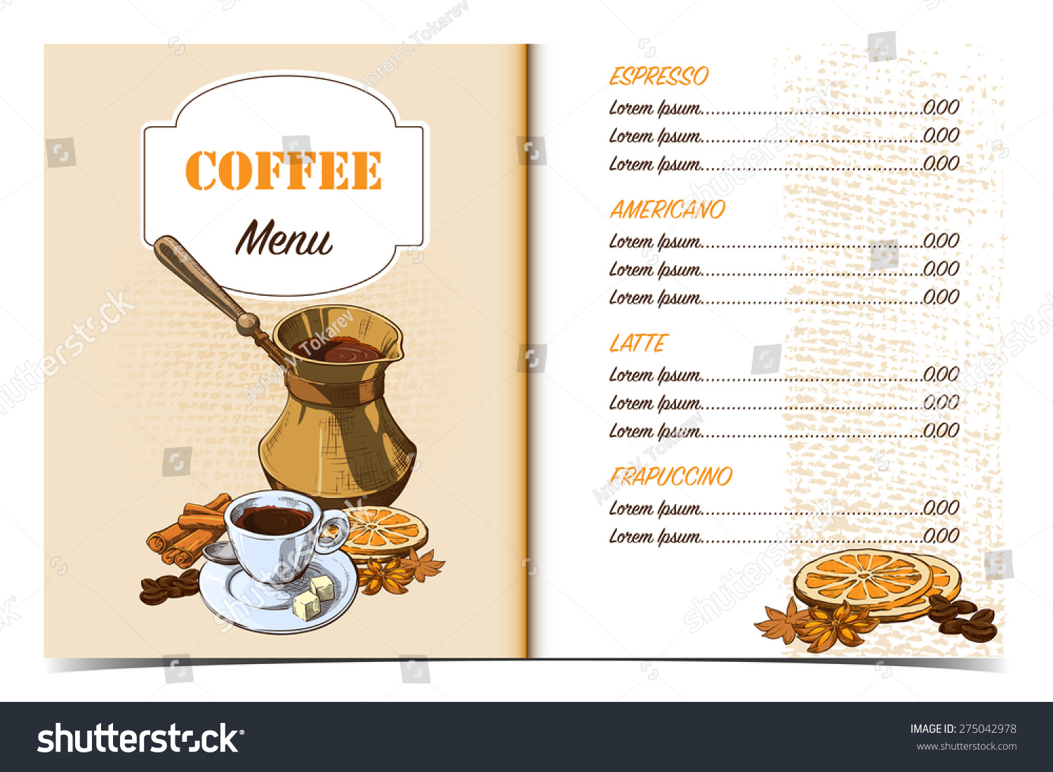 cafe menu template front page oldfashioned stock vector royalty