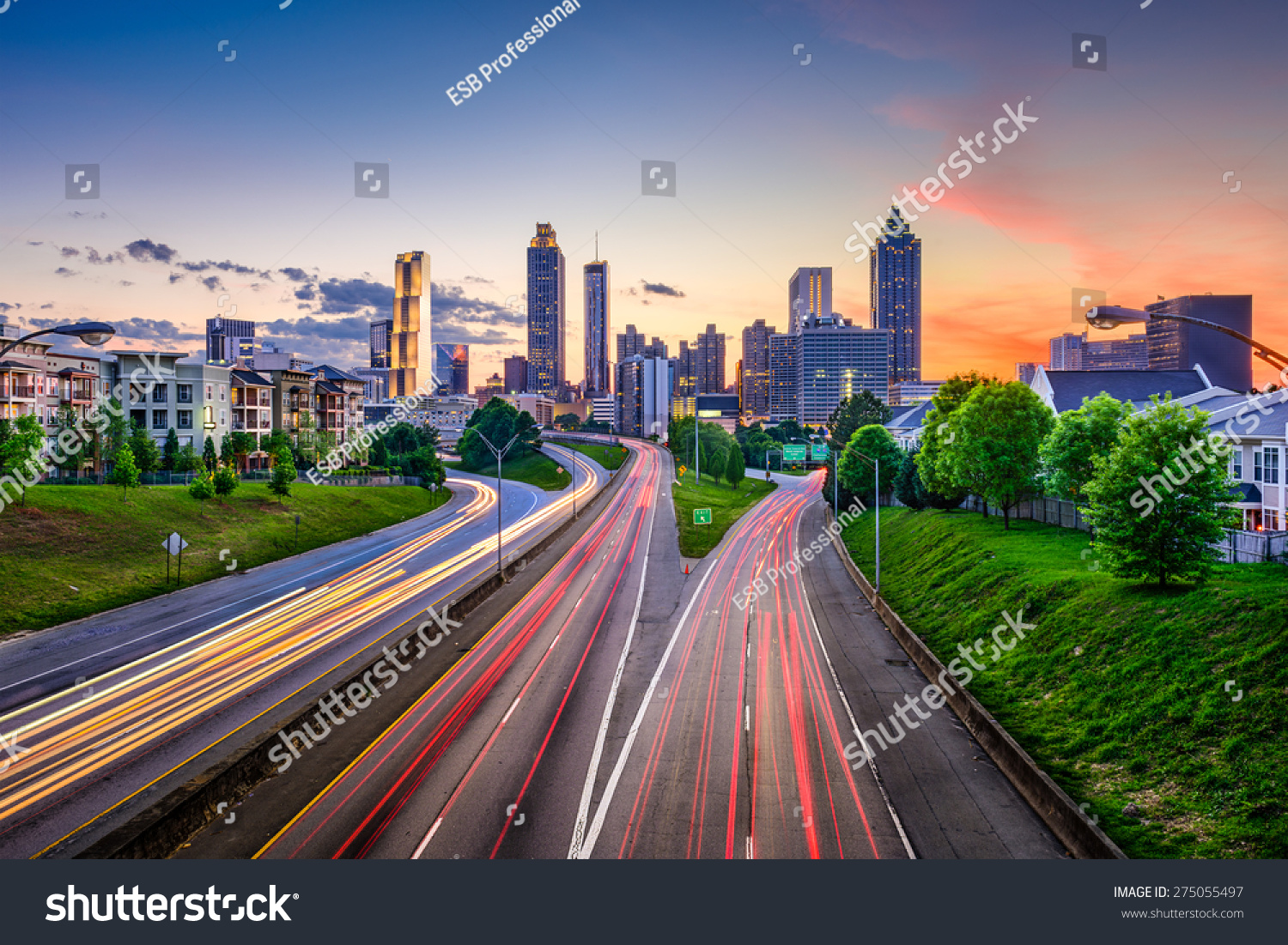 atlanta georgia usa downtown city skyline stock photo 275055497 shutterstock. Black Bedroom Furniture Sets. Home Design Ideas