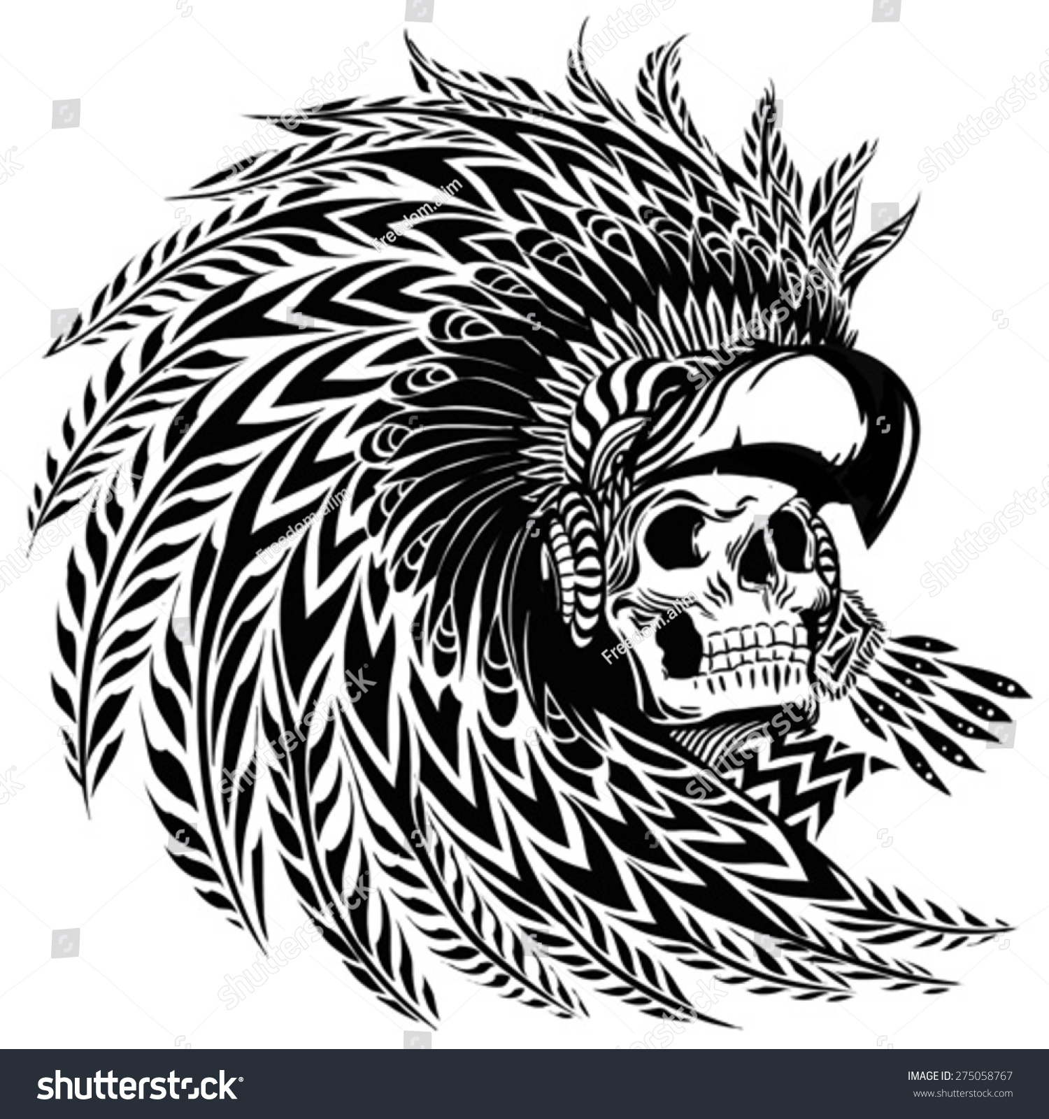 Tattoo aztec warrior stock vector 275058767 shutterstock for Aztec mural tattoos