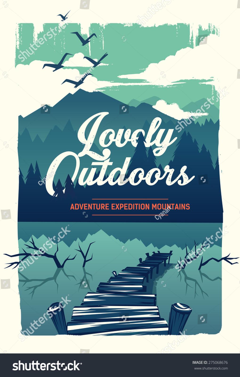 Vector Poster Lovely Outdoors Stock Vector 275068676 - Shutterstock