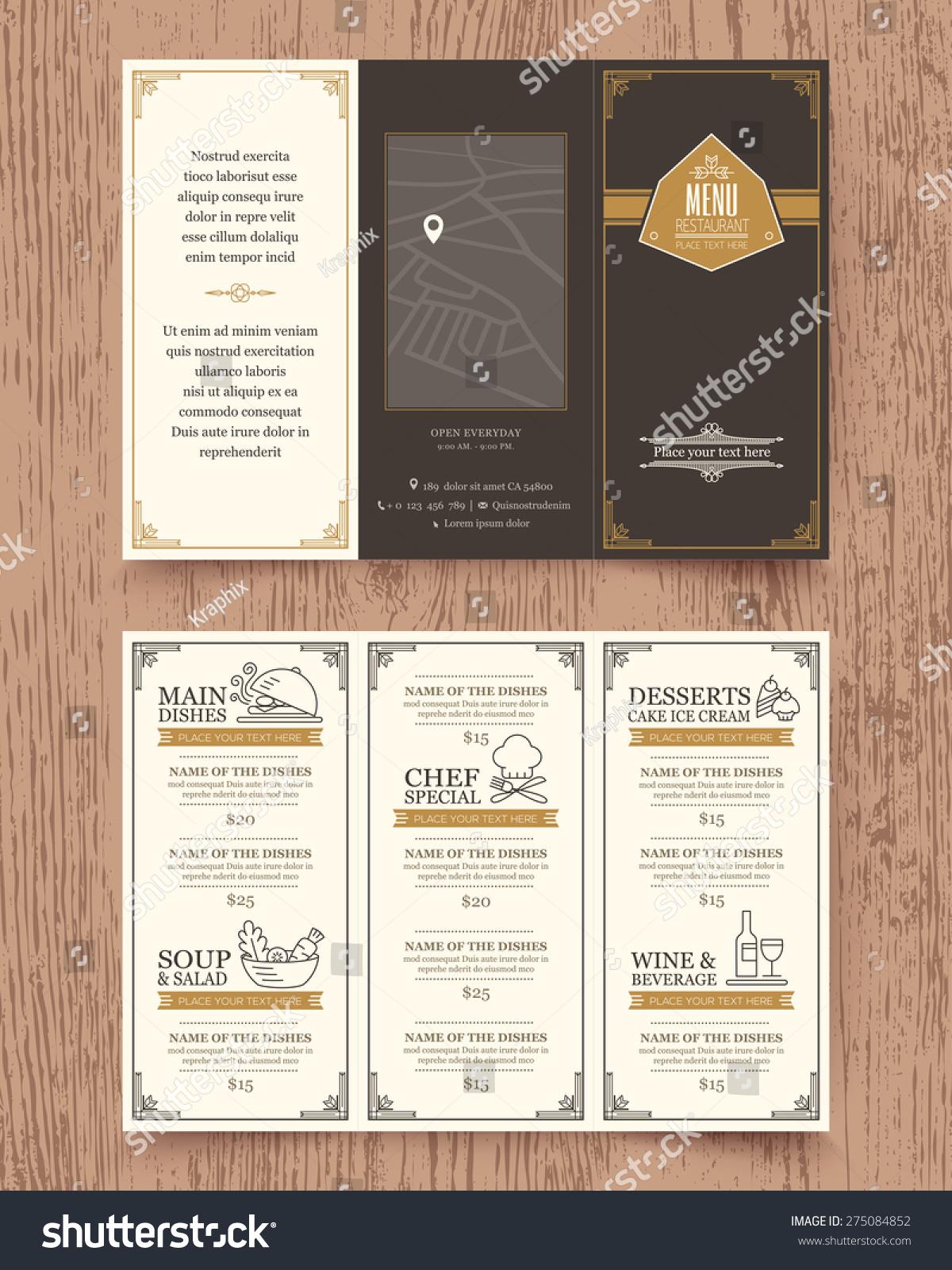 Vintage Restaurant Menu Design Pamphlet Vector Stock ...