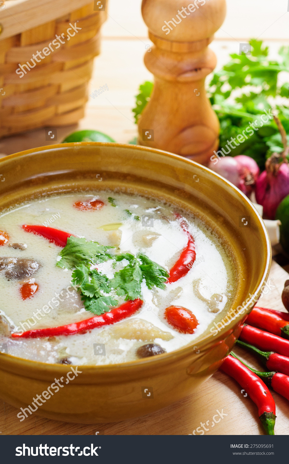 Thai Style Coconut Milk Soup With Chicken, (Tom Kha Gai ...