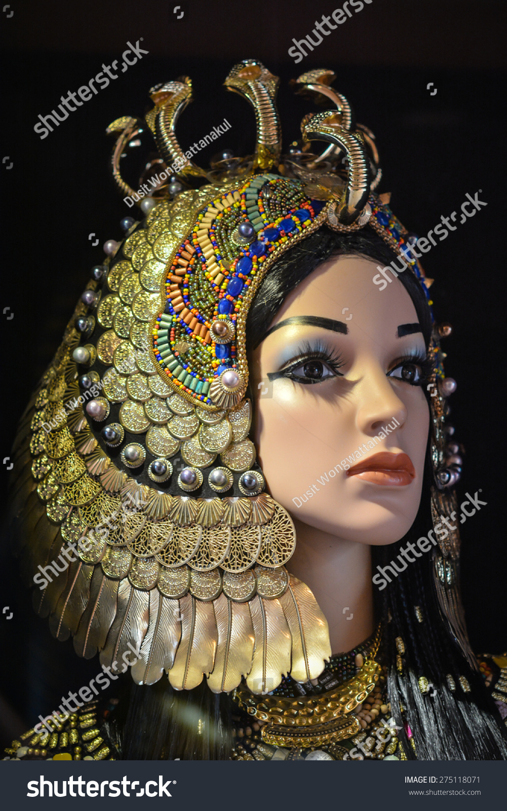 Cleopatra Ornate Traditional Cherry Formal Dining Room: Egyptian Princess Desert Ancient Pyramids Stock Photo