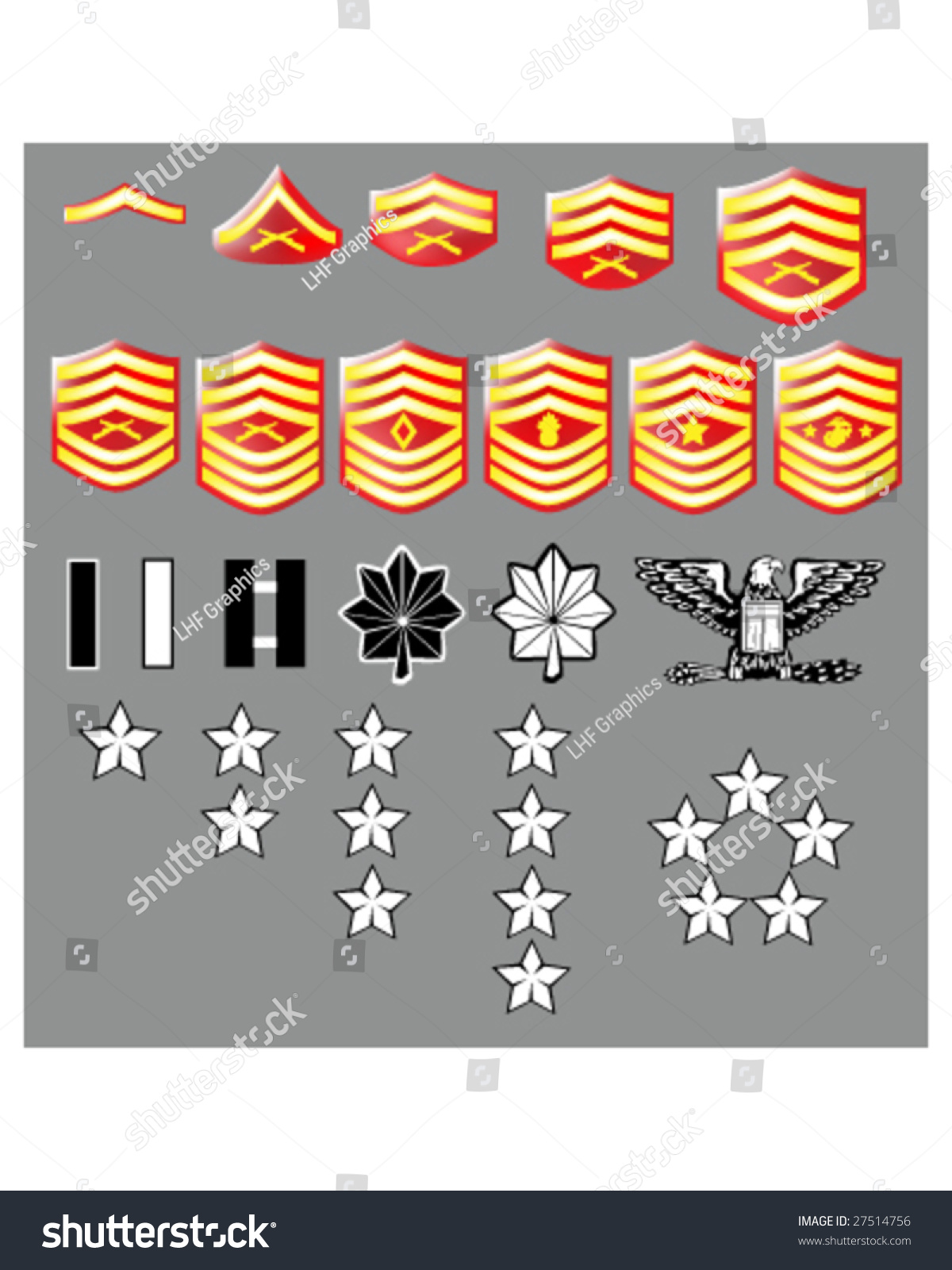 Us marine corps rank insignia officers stock vector 27514756 us marine corps rank insignia for officers and enlisted in vector format with texture buycottarizona Image collections