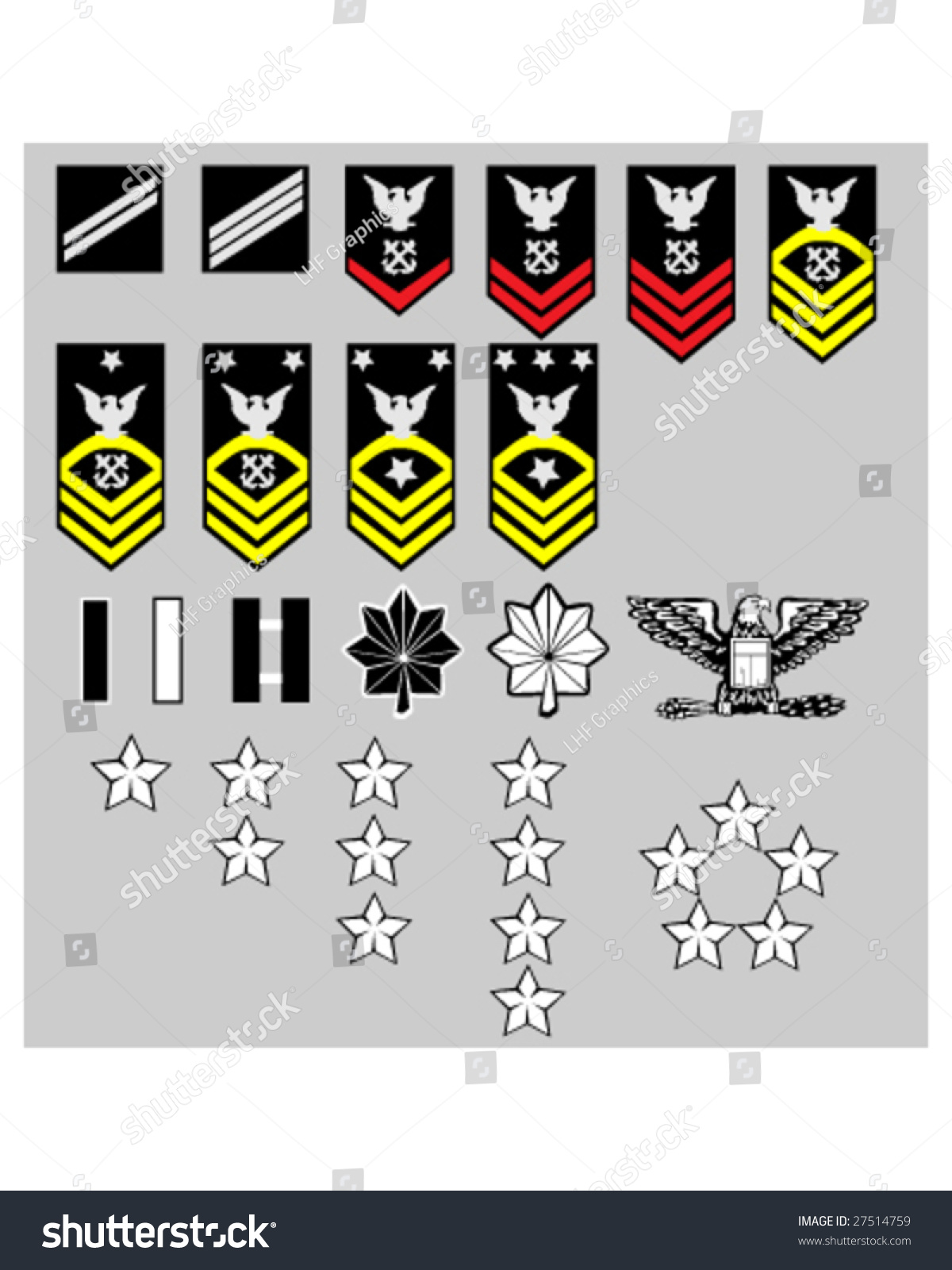 Us Navy Rank Insignia Officers Enlisted Stock Vector 27514759