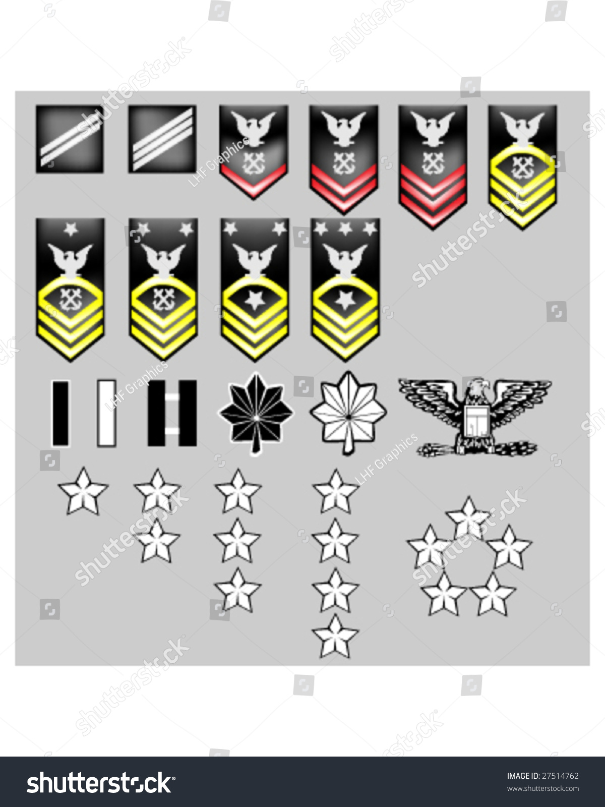 Us Navy Rank Insignia Officers Enlisted Stock Vector 2018 27514762