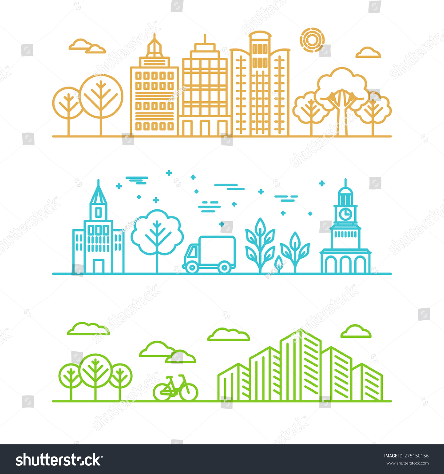 vector city illustration linear style buildings のベクター画像素材