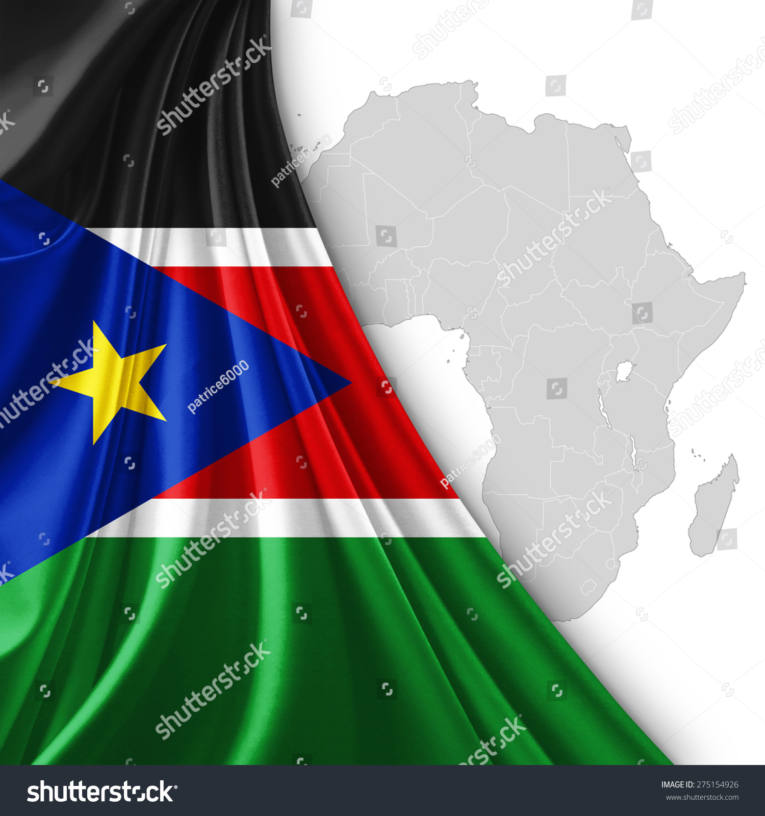 Royalty Free Stock Illustration of South Sudan Flag Silk Africa Map ...