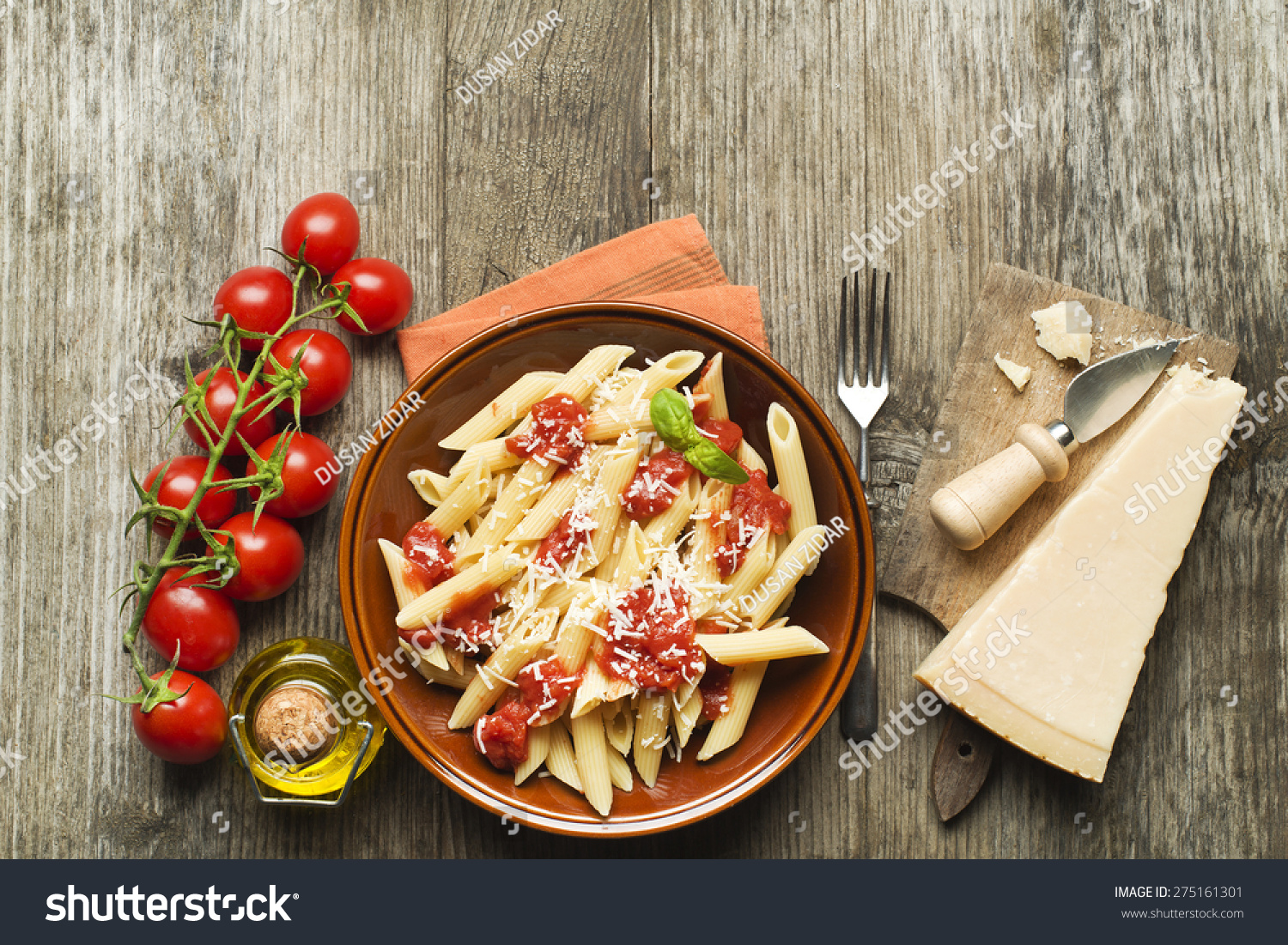 Plate Of Penne Pasta With Tomato Sauce And Parmesan Cheese Stock Photo ...