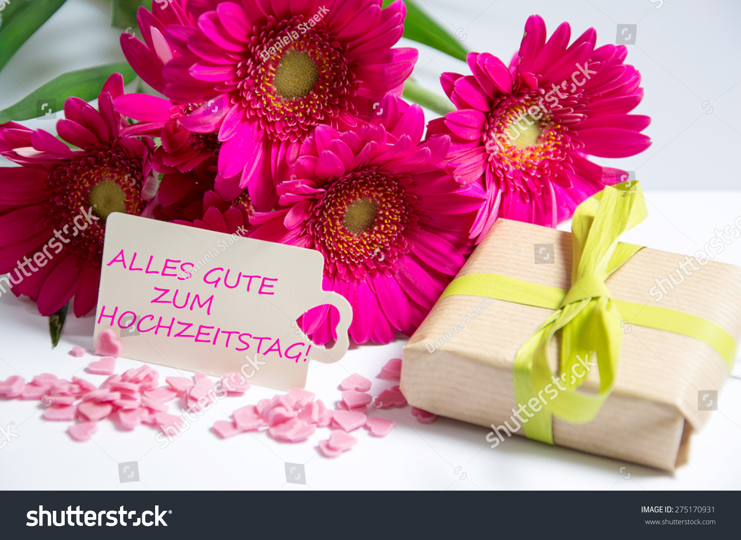 Pink Flowers Card Lettering Happy Wedding Stock Photo Edit Now