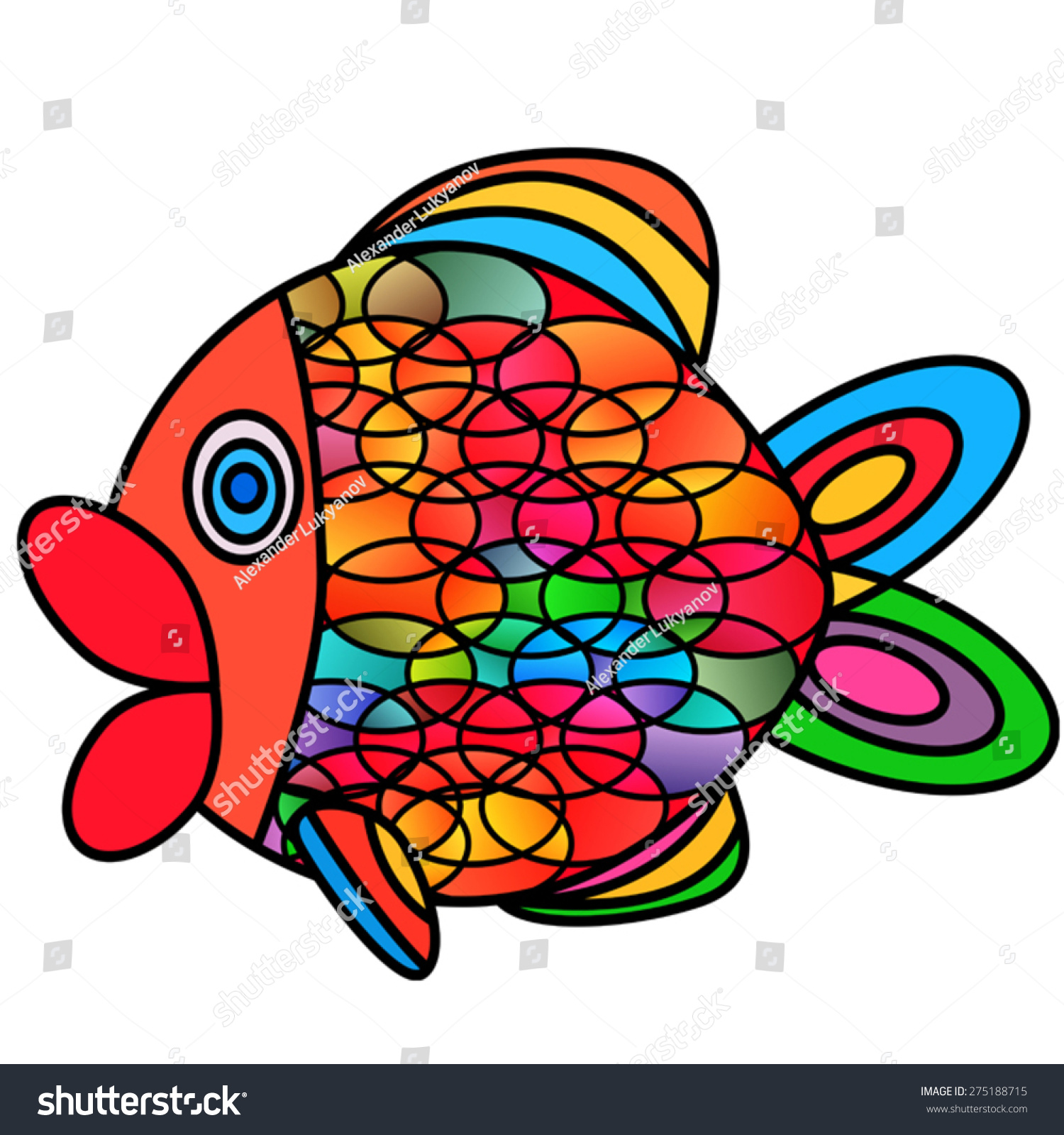 Abstract Fish Stainedglass Style Imitation EPS 10 Stock Vector ...