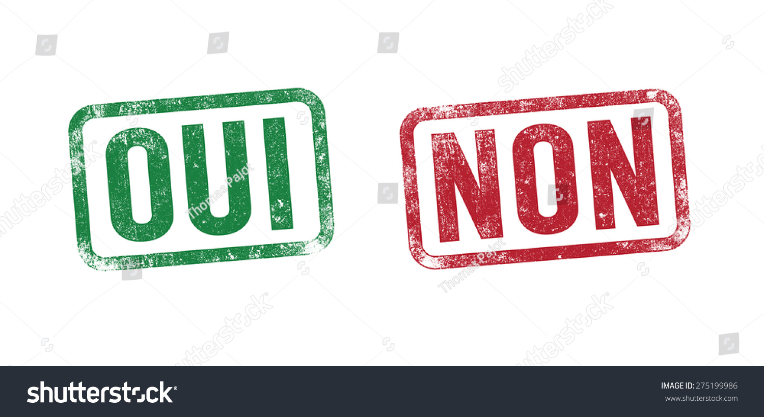 Oui non yes no stamp french stock vector 275199986 for Oui non minimaliste