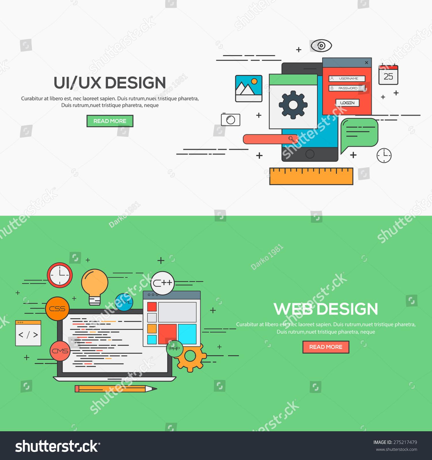 Set Of Flat Line Banner Design Concept For Ui Design And